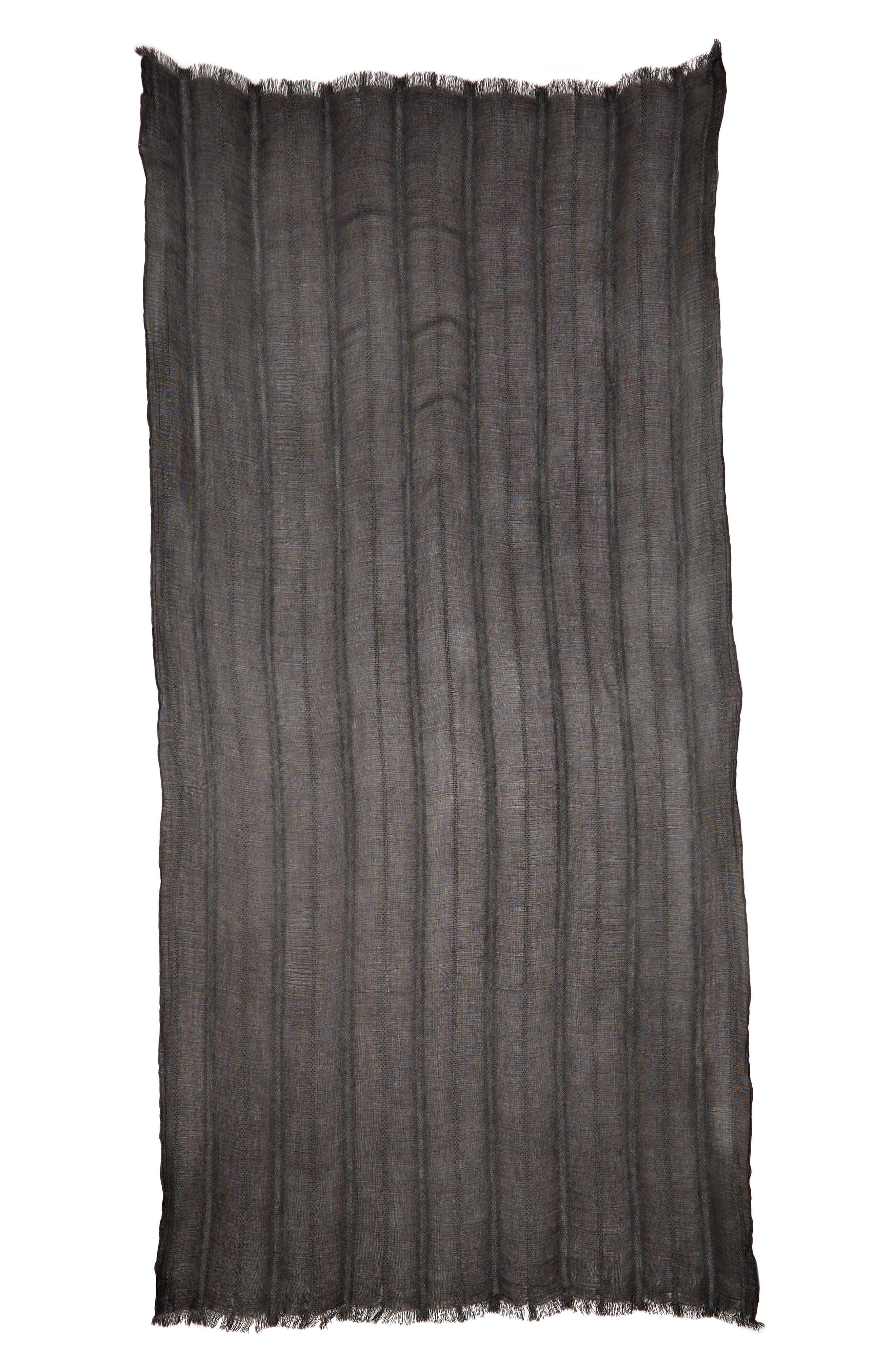TREASURE & BOND,                             Solid Ribbed Wrap Scarf,                             Alternate thumbnail 3, color,                             BLACK