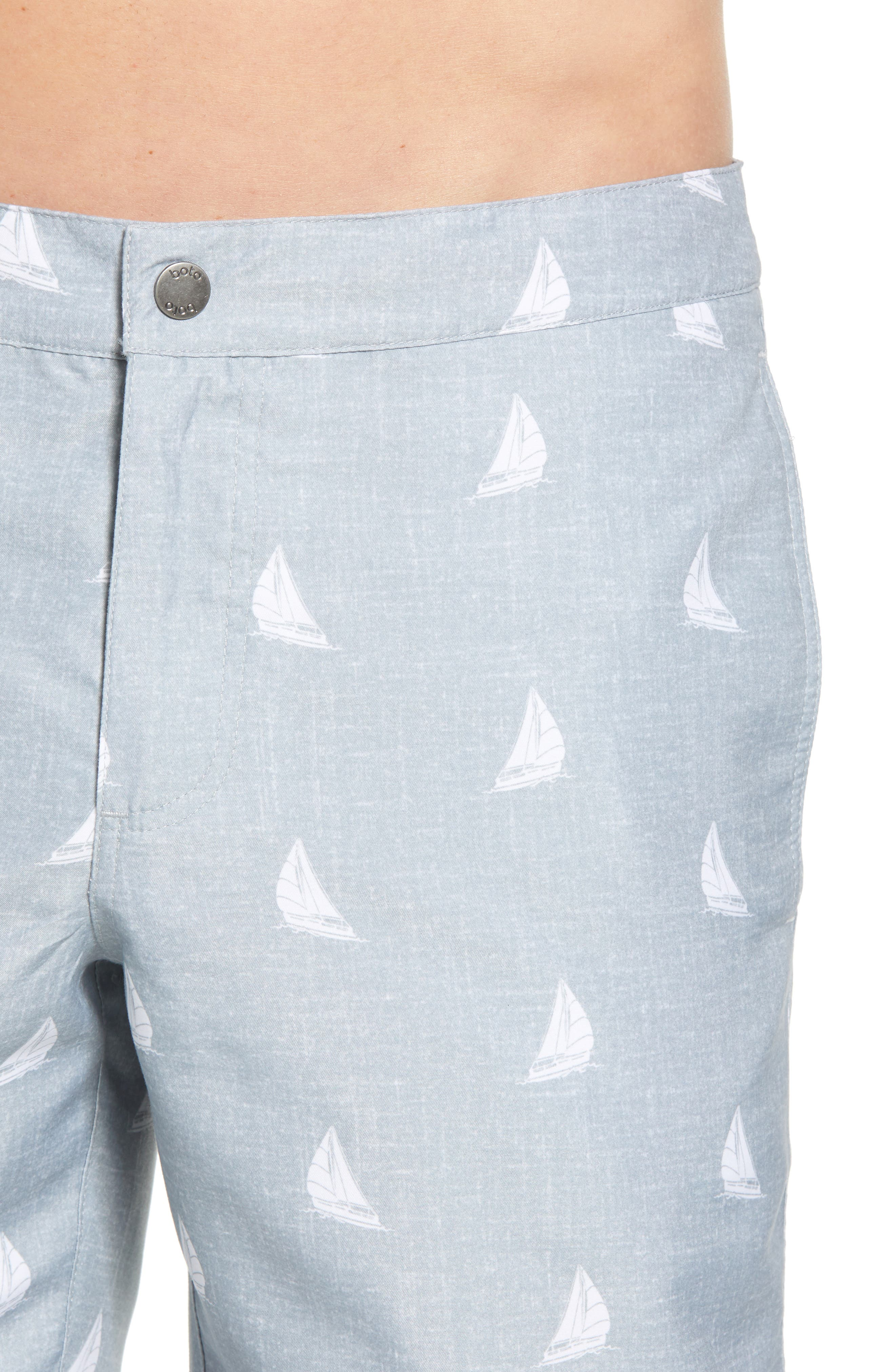 Aruba Slim Fit Swim Trunks,                             Alternate thumbnail 4, color,                             HEATHERED GREY SAILBOATS