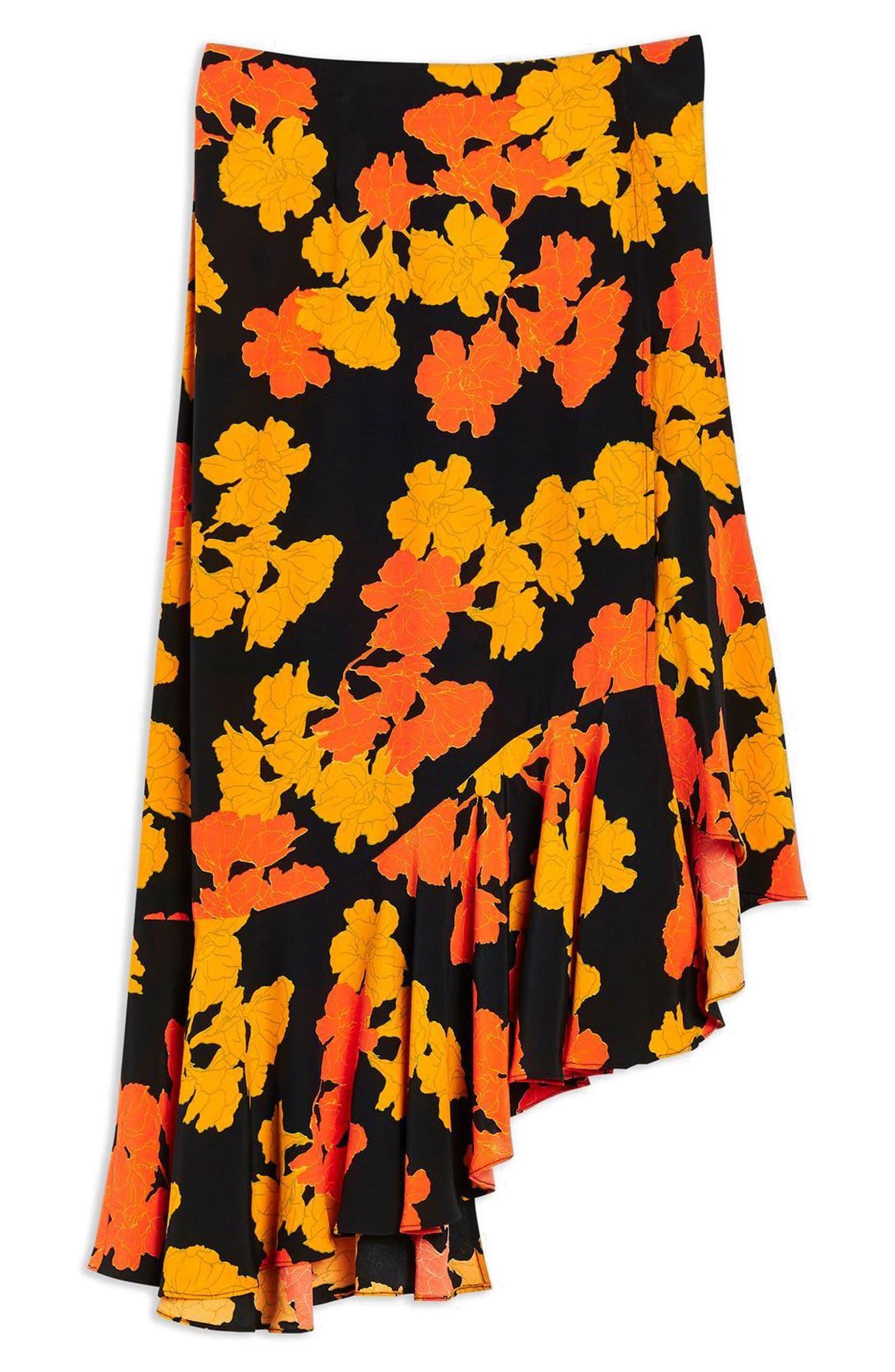 TOPSHOP,                             Printed Midi Skirt,                             Alternate thumbnail 3, color,                             001