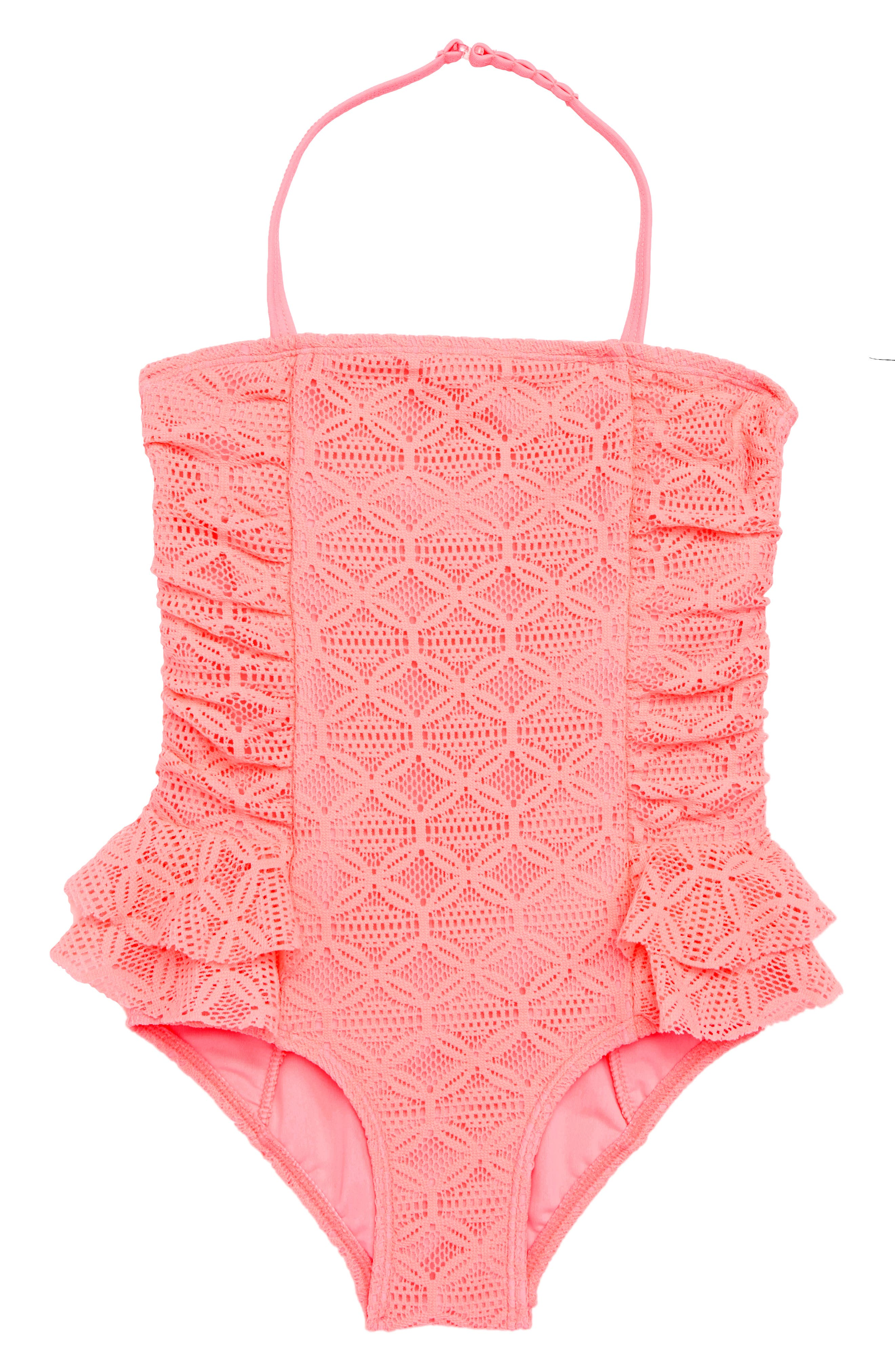 Kitty Lace One-Piece Swimsuit,                         Main,                         color, CORAL