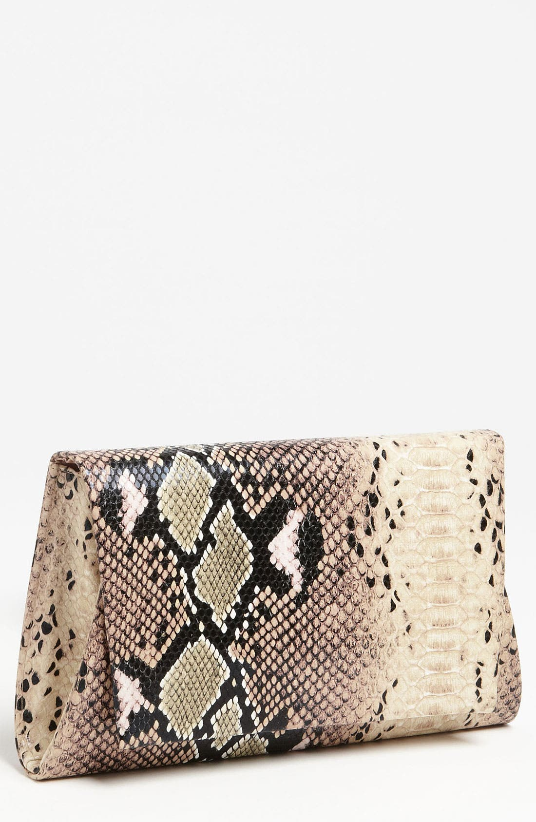 Natasha Couture Foldover Snake Embossed Clutch,                             Main thumbnail 1, color,                             274