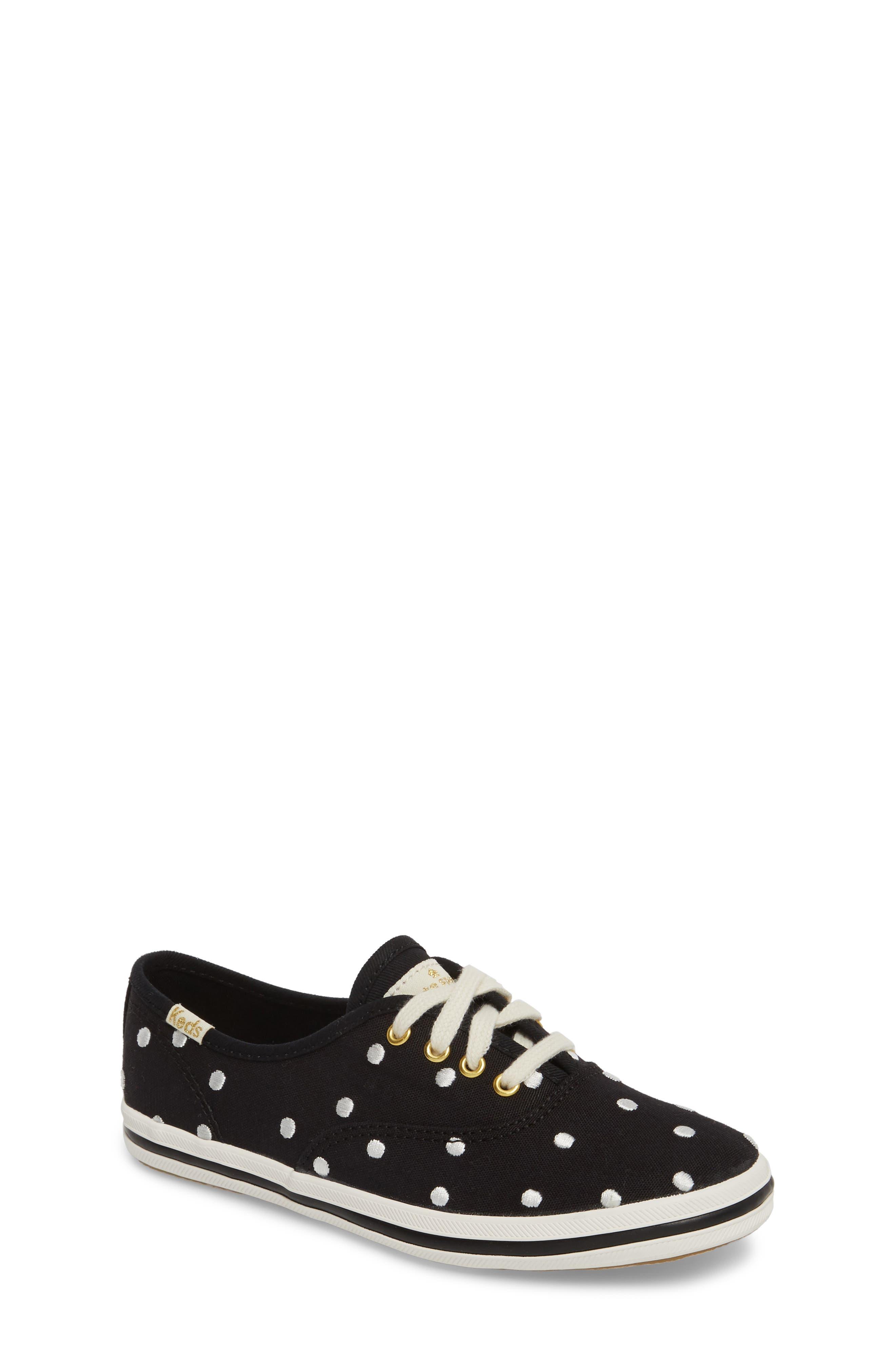 x kate spade new york champion polka dot lace-up shoe,                         Main,                         color, BLACK DANCING DOT