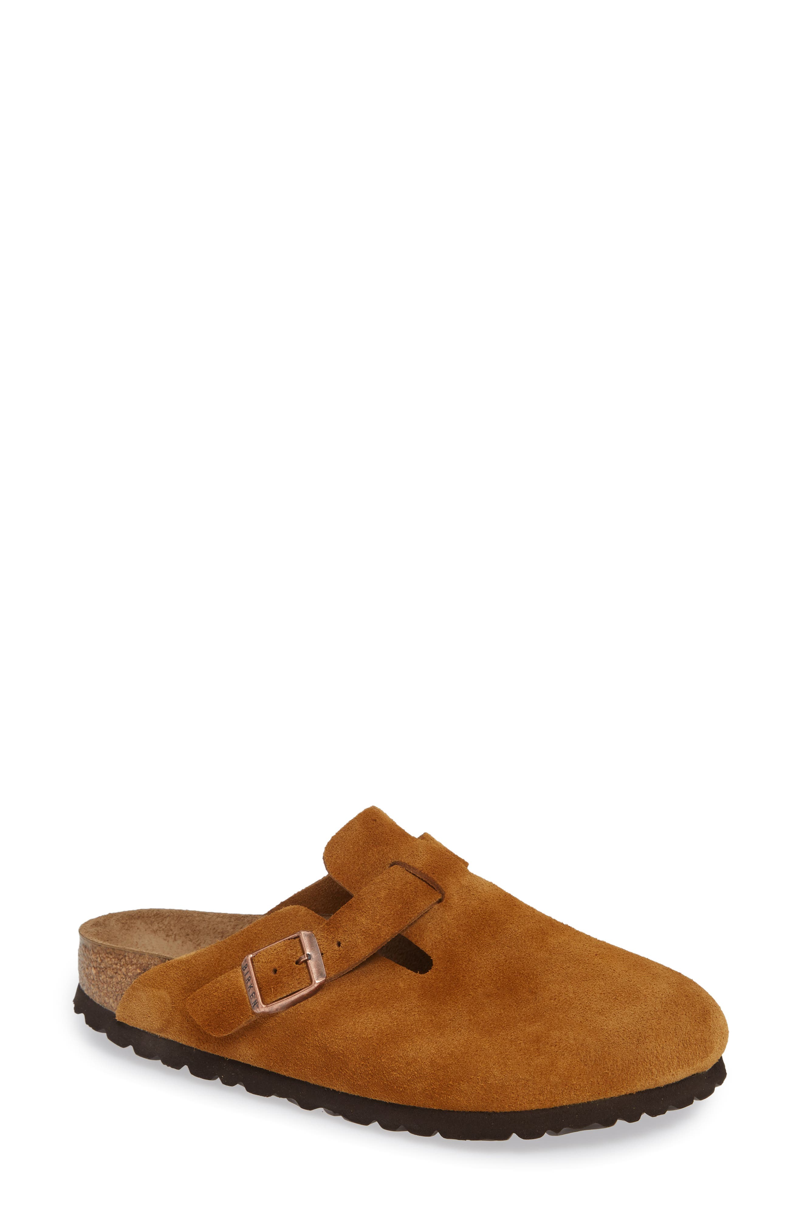 'Boston' Soft Footbed Clog,                             Main thumbnail 1, color,                             MINK SUEDE
