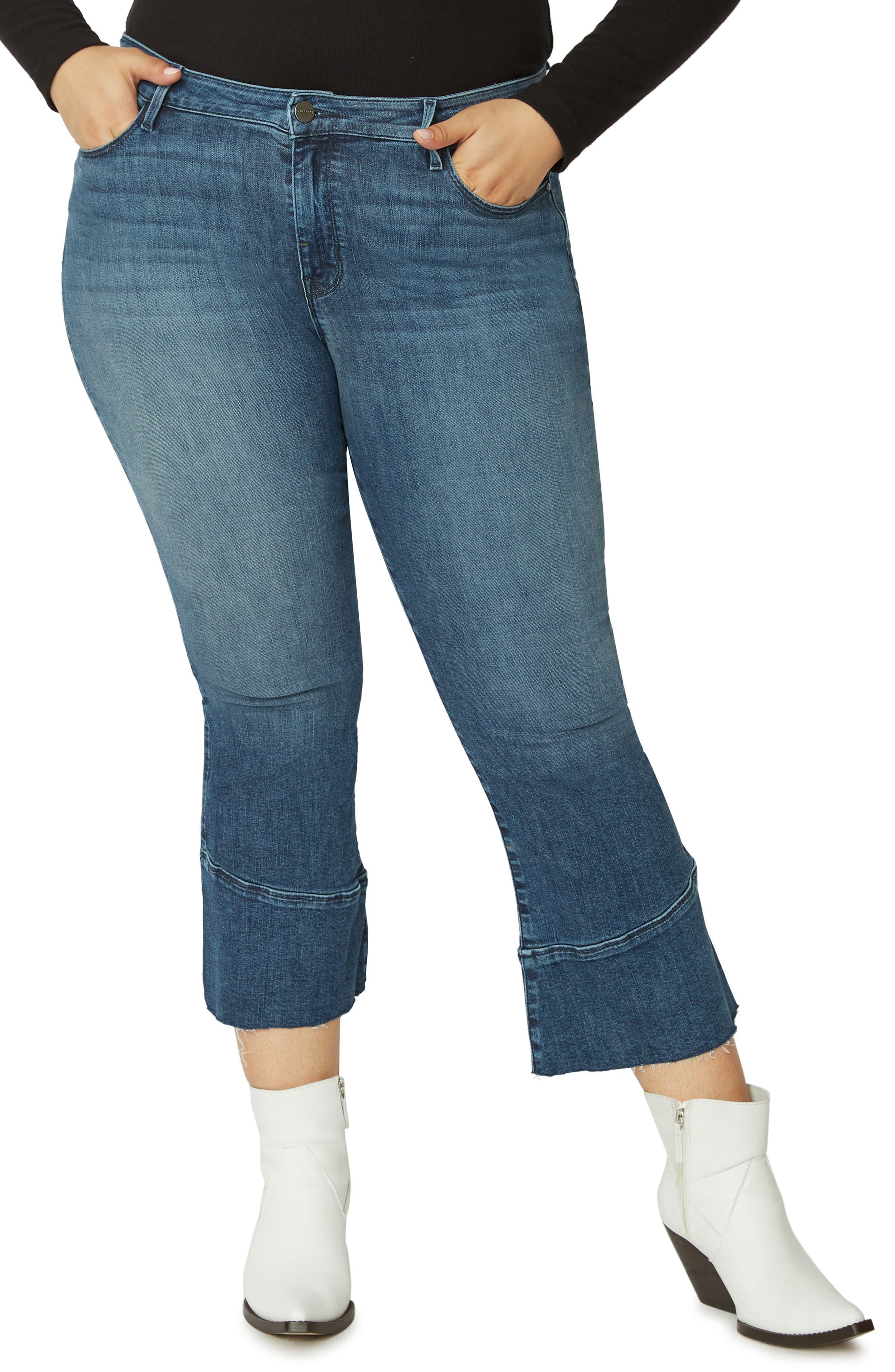 Tulip Hem Kick Crop Jeans,                             Main thumbnail 1, color,                             DISTRICT BLUE