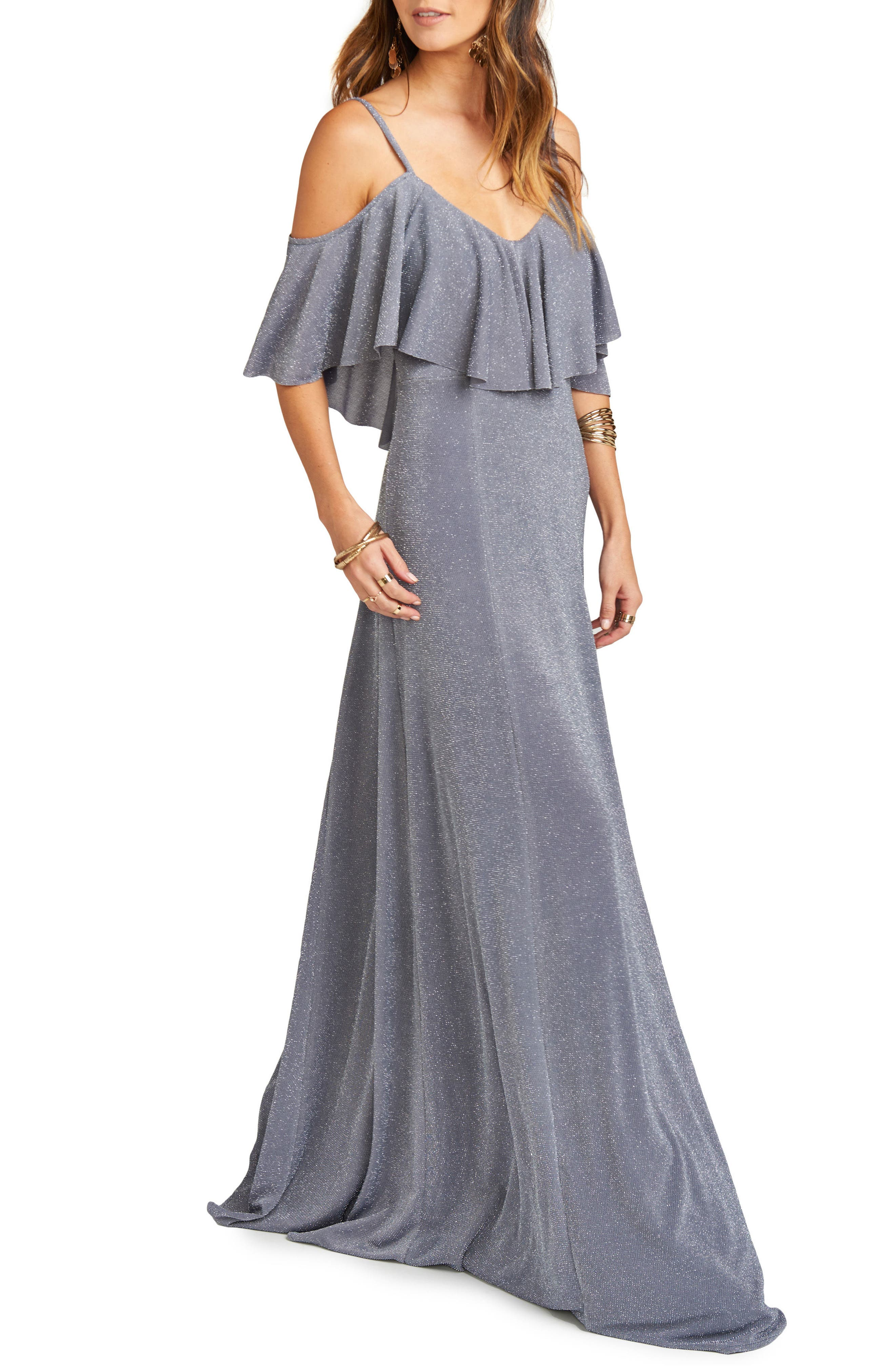 Renee Ruffle Gown,                             Alternate thumbnail 3, color,                             030