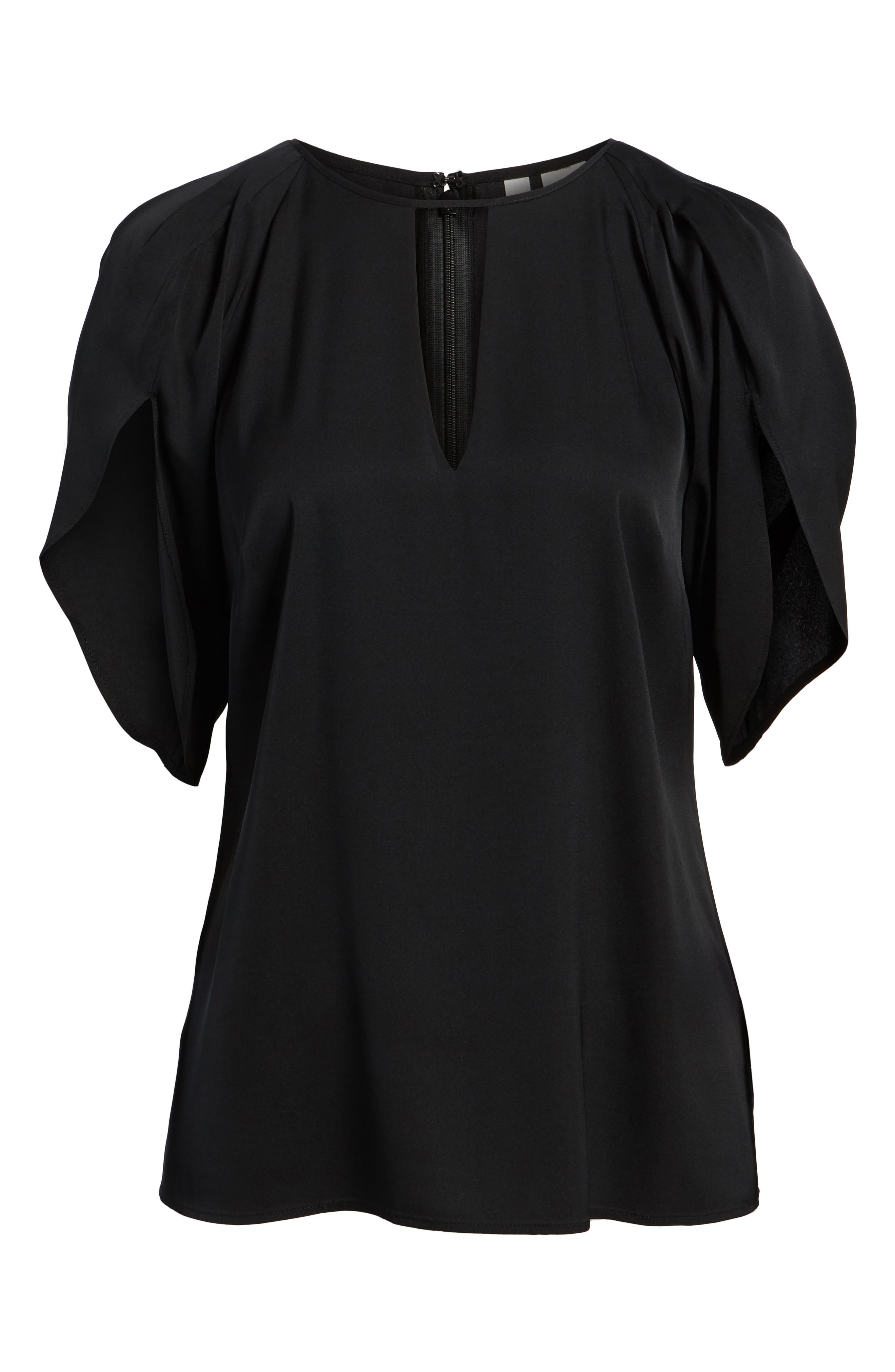 Draped Sleeve Stretch Silk Top,                             Alternate thumbnail 7, color,                             001