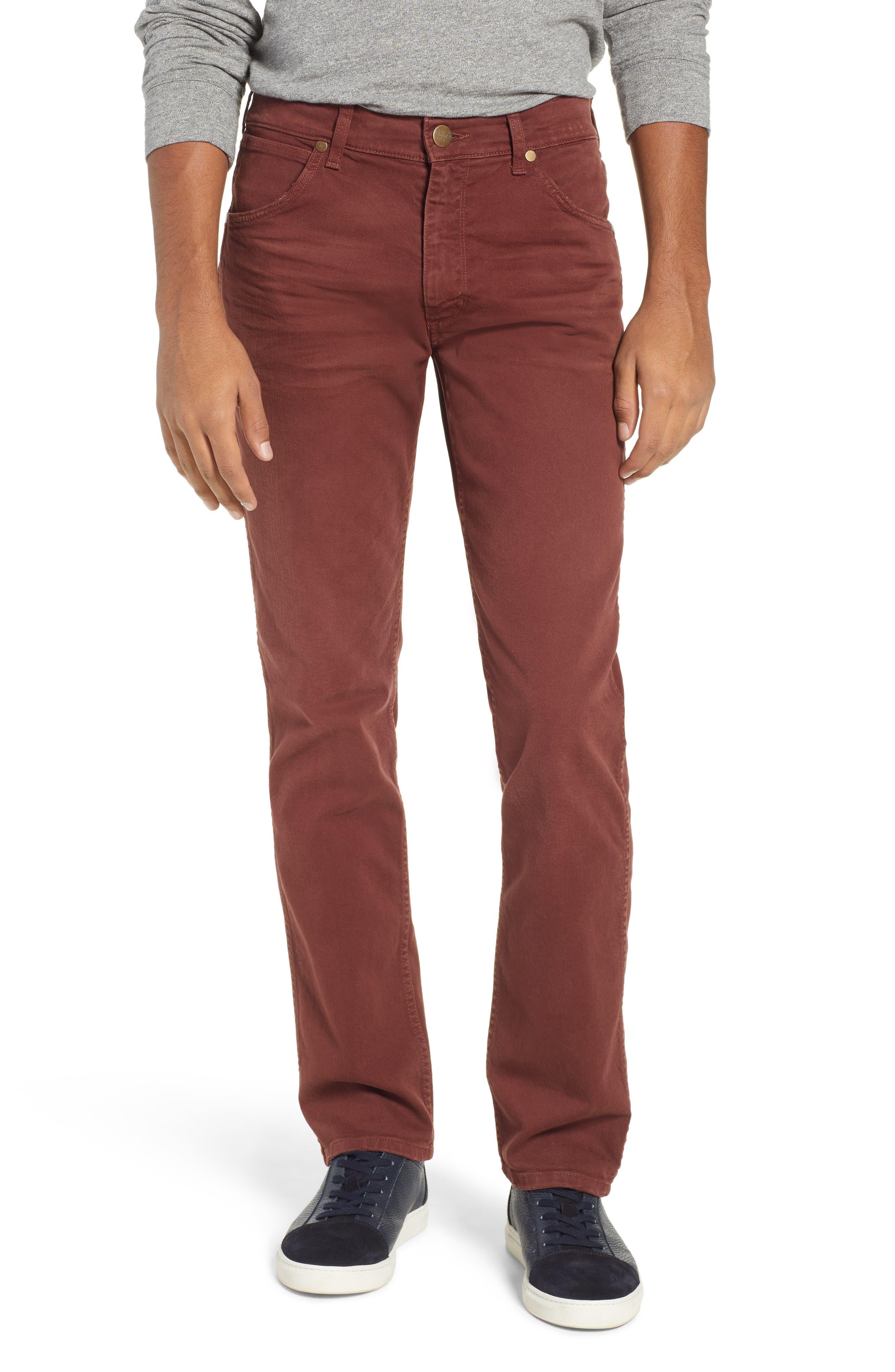 Greensboro Straight Leg Twill Pants, Main, color, MAHOGANY RED