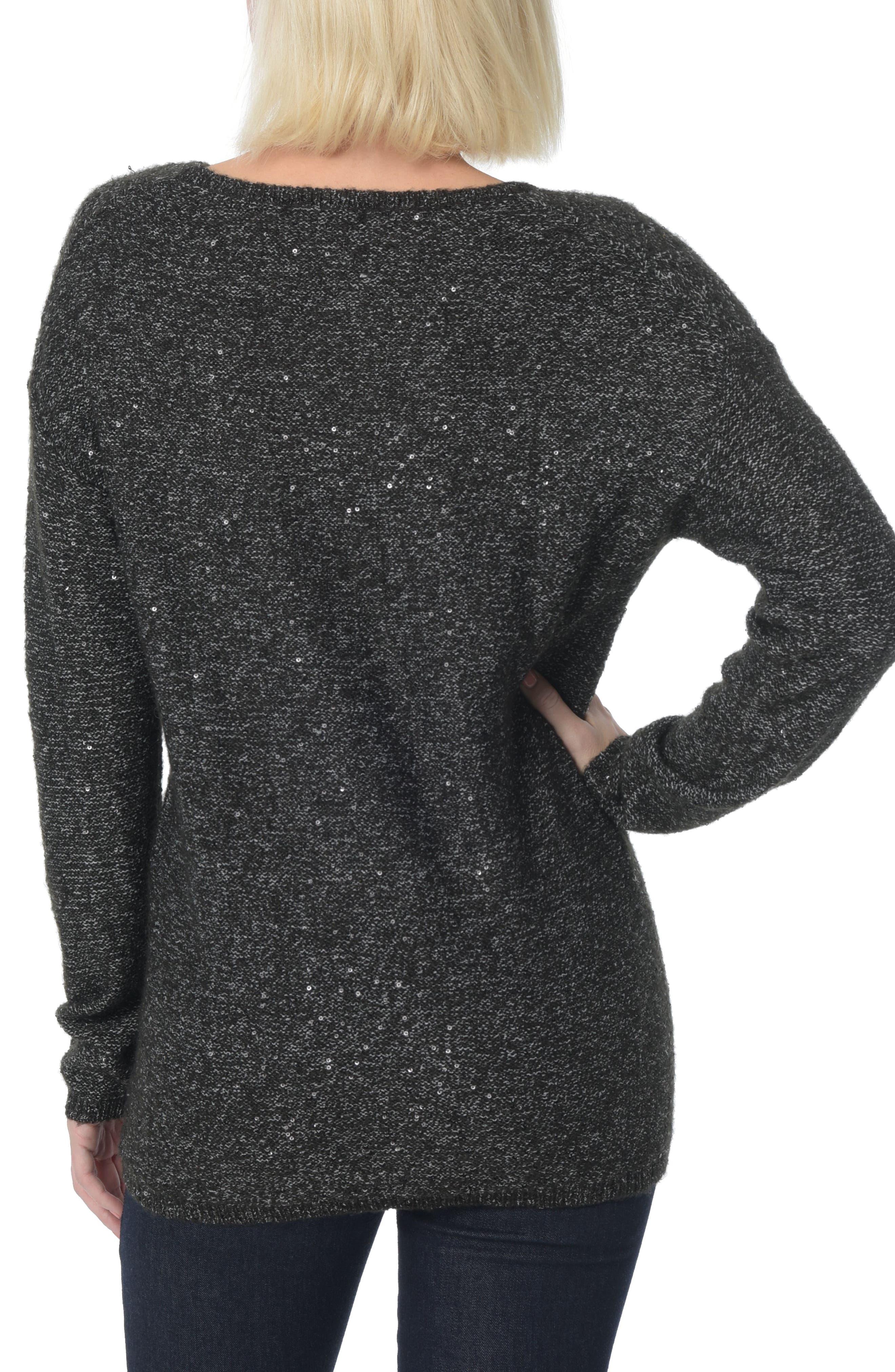 Sequin Scoop Neck Sweater,                             Alternate thumbnail 2, color,                             001