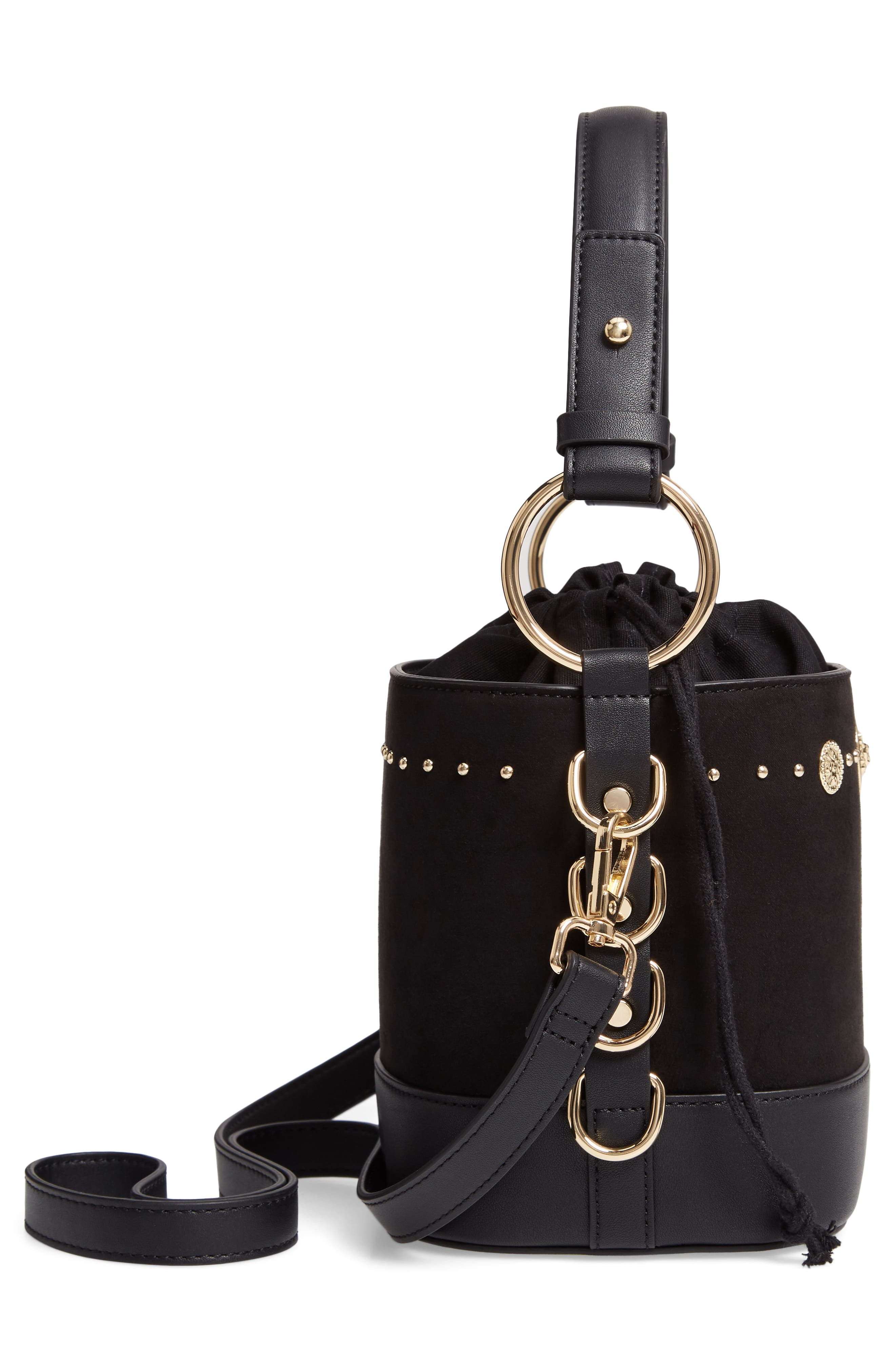 Bianca Studded Faux Leather Bucket Bag,                             Alternate thumbnail 5, color,                             001