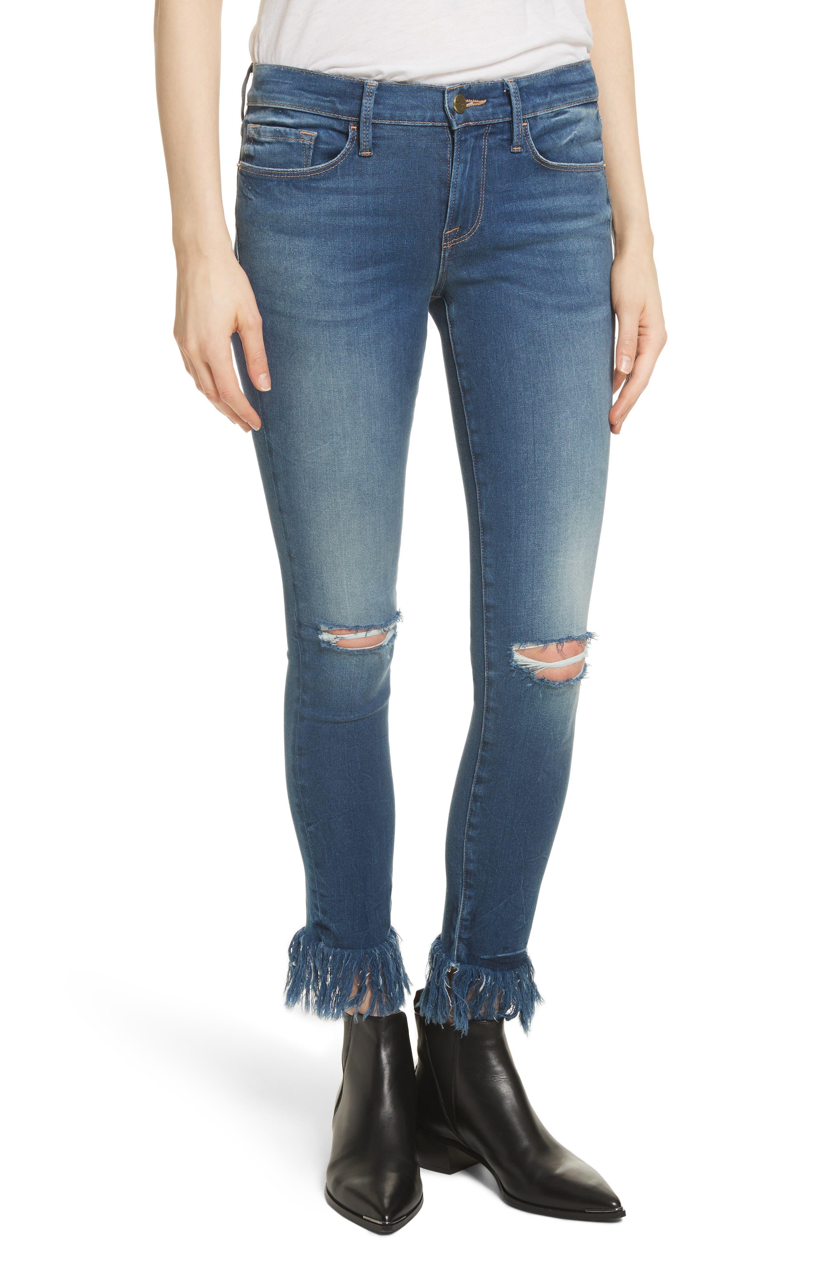 Le Skinny de Jeanne Shredded Raw Hem Jeans,                             Main thumbnail 1, color,                             401