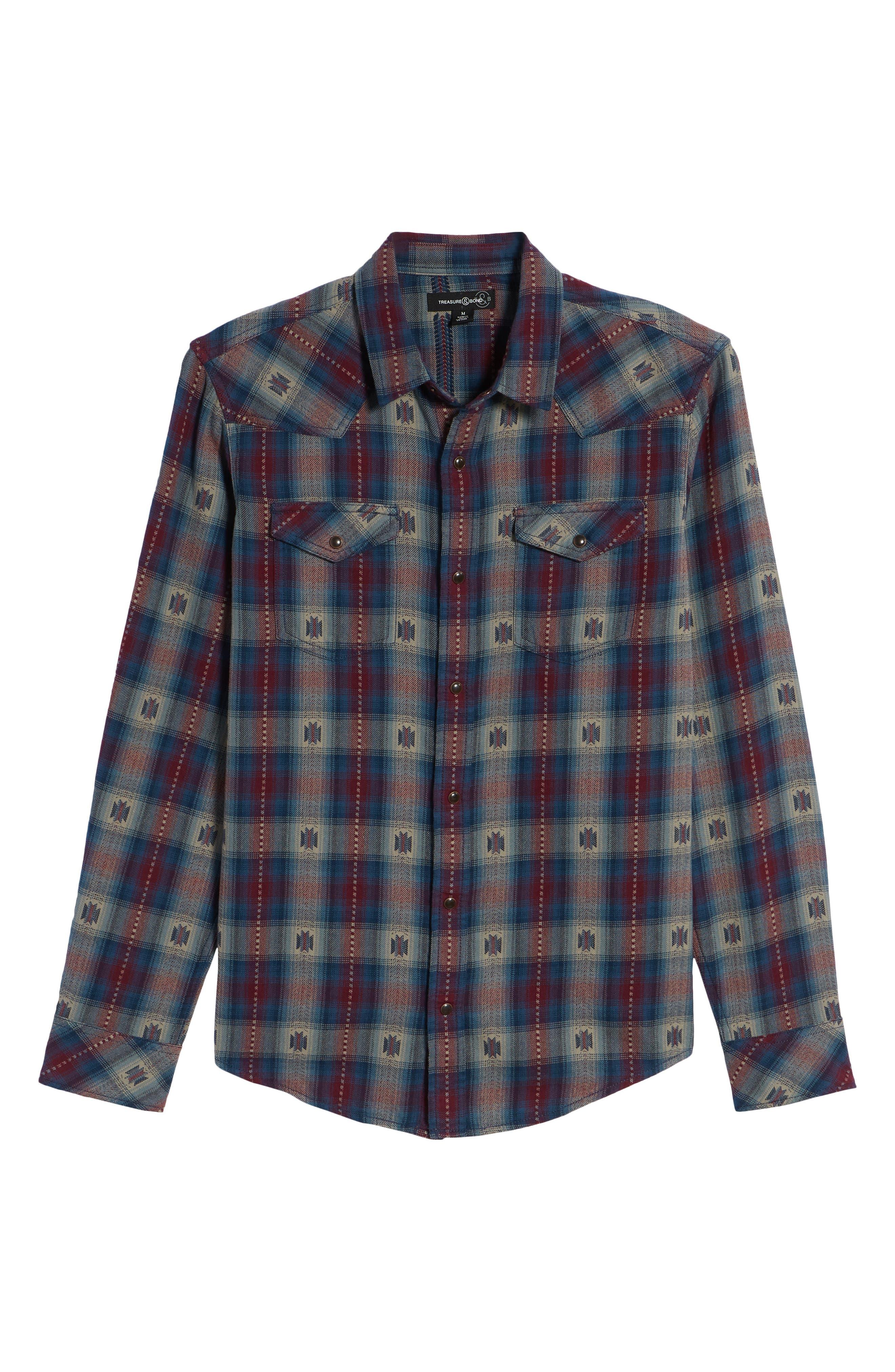 Feliz Dobby Plaid Western Shirt,                             Alternate thumbnail 12, color,