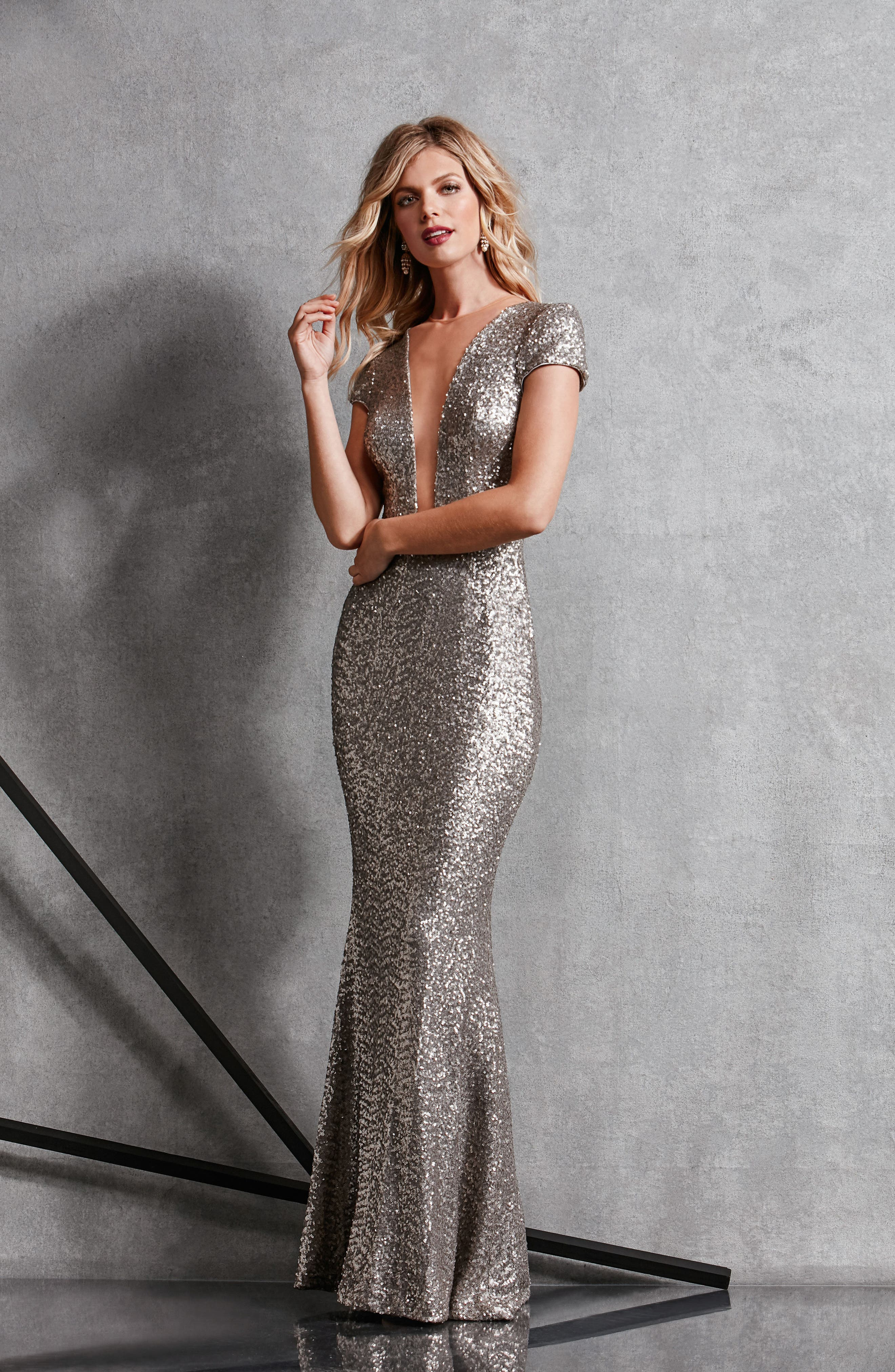 Michelle Sequin Gown,                             Alternate thumbnail 6, color,                             PLATINUM