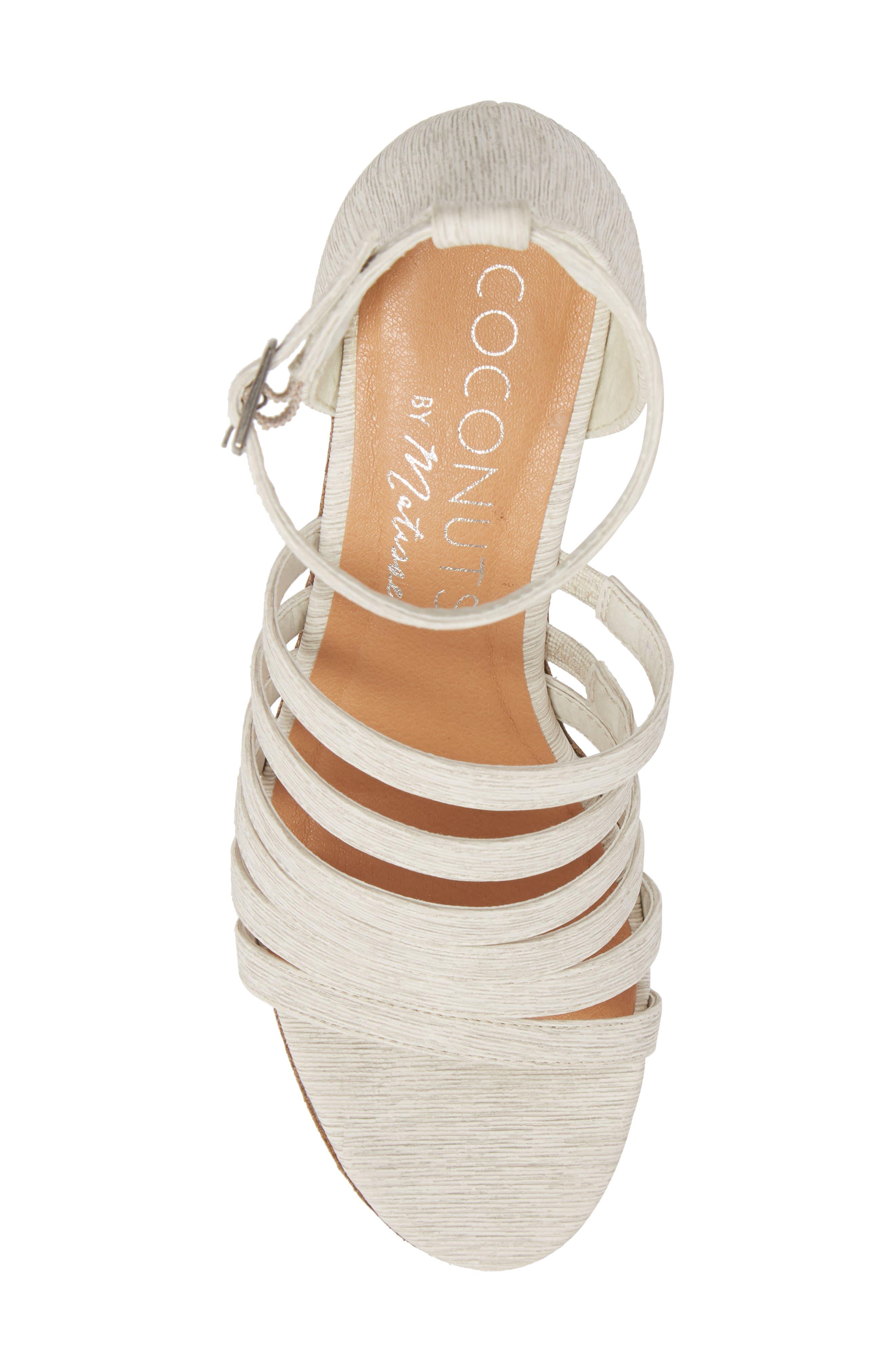 Kiera Wedge Sandal,                             Alternate thumbnail 5, color,                             NATURAL FABRIC