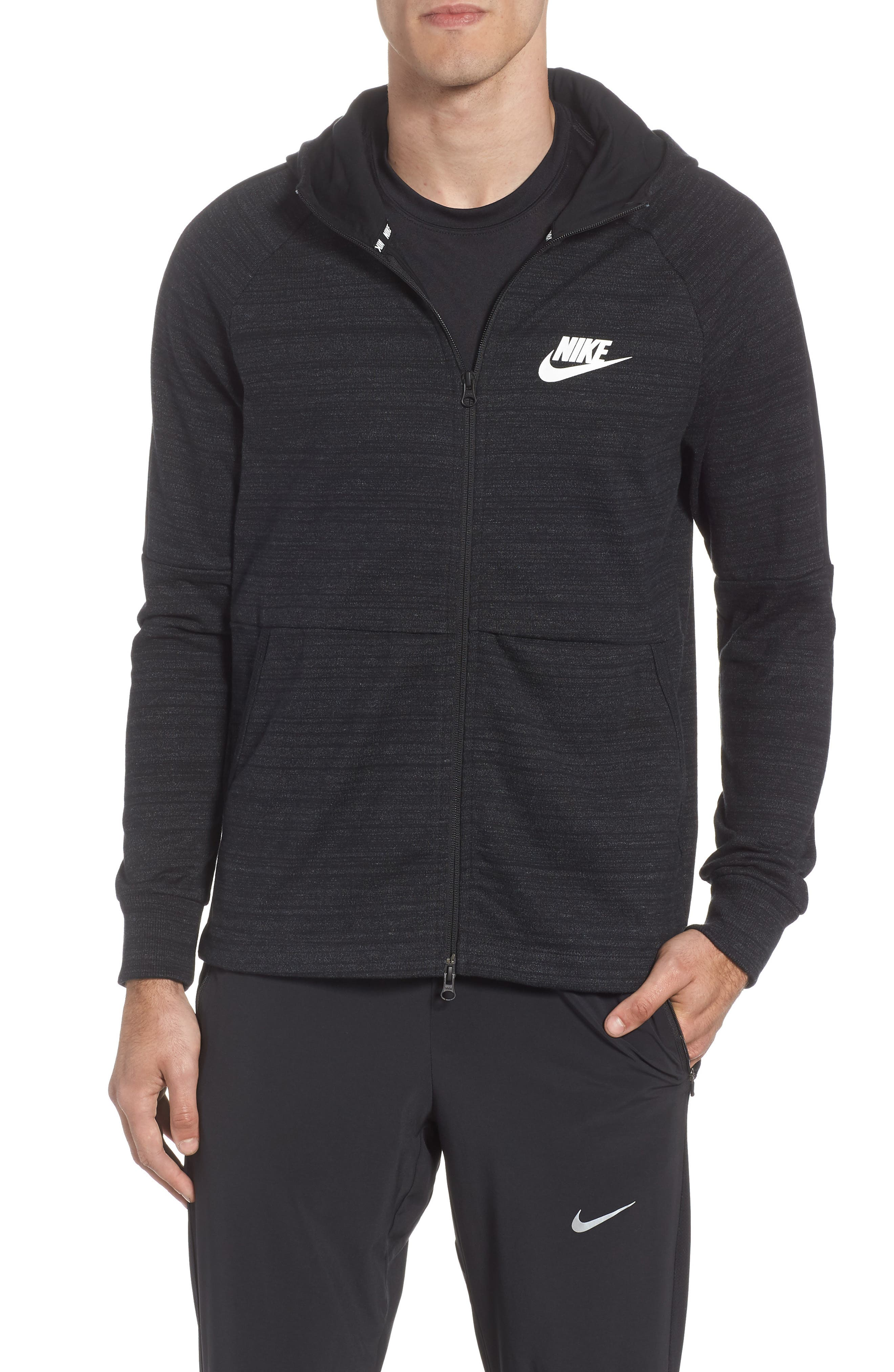Sportswear Advance 15 Knit Full Zip Hoodie,                         Main,                         color, BLACK/ HEATHER/ BLACK/ WHITE