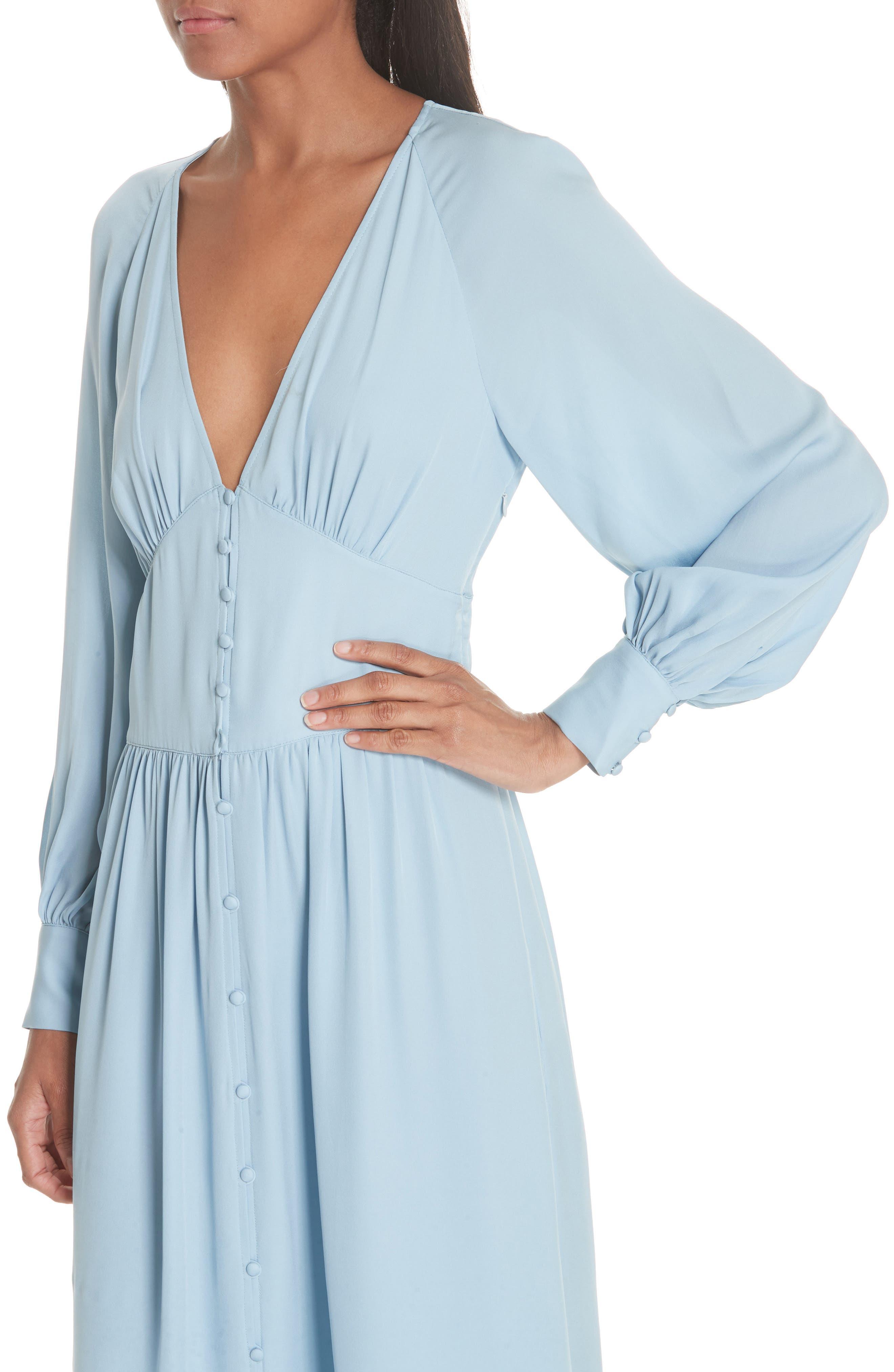 Kyria Silk Midi Dress,                             Alternate thumbnail 4, color,                             400