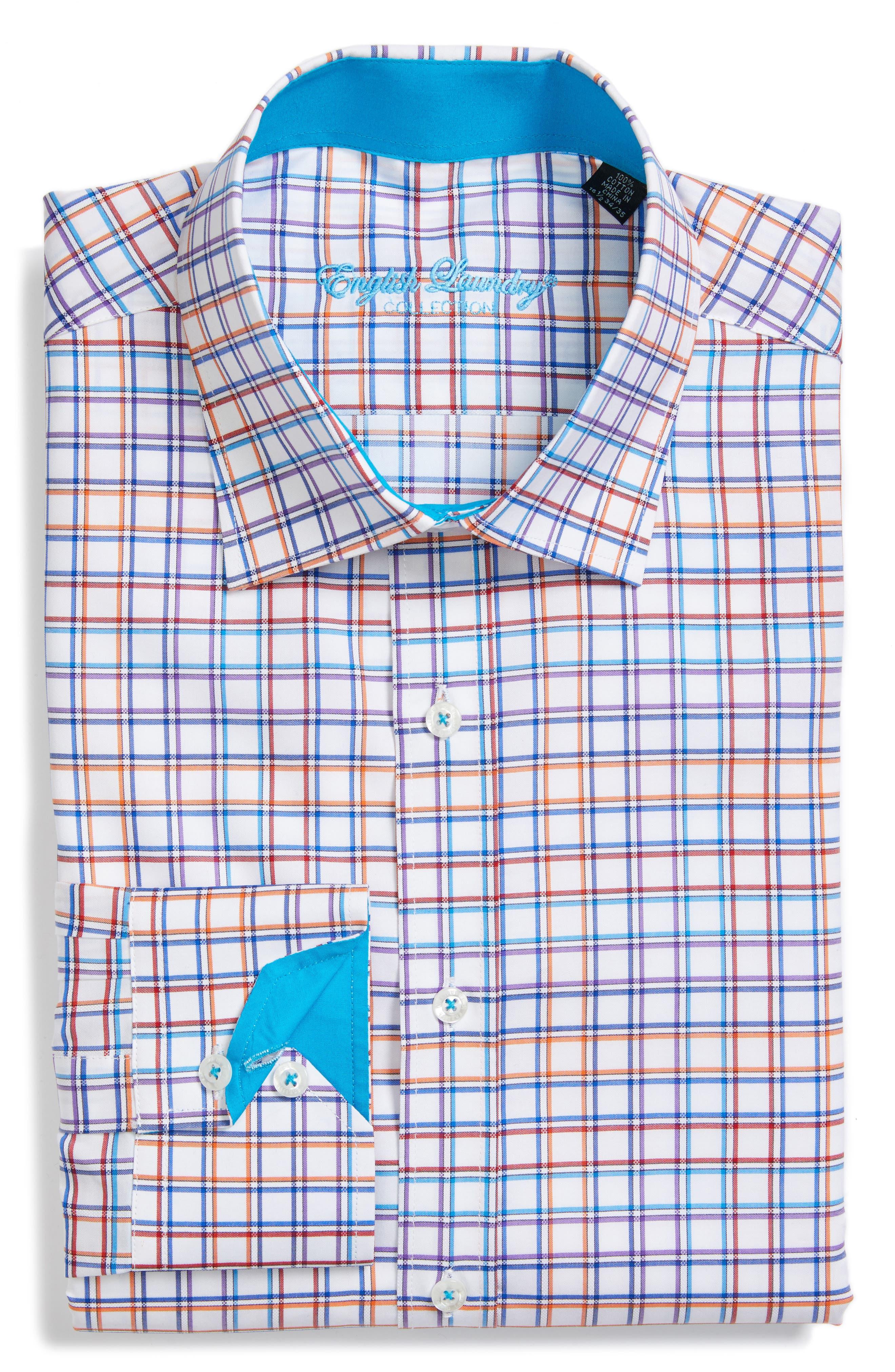 Trim Fit Check Dress Shirt,                             Main thumbnail 1, color,                             100