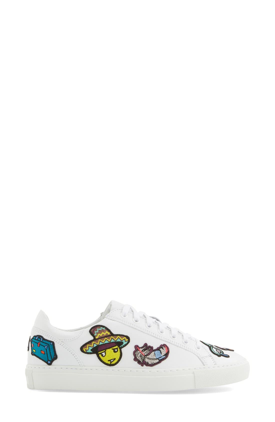 MIRA MIKATI,                             'Patches' Low Top Sneaker,                             Alternate thumbnail 4, color,                             111
