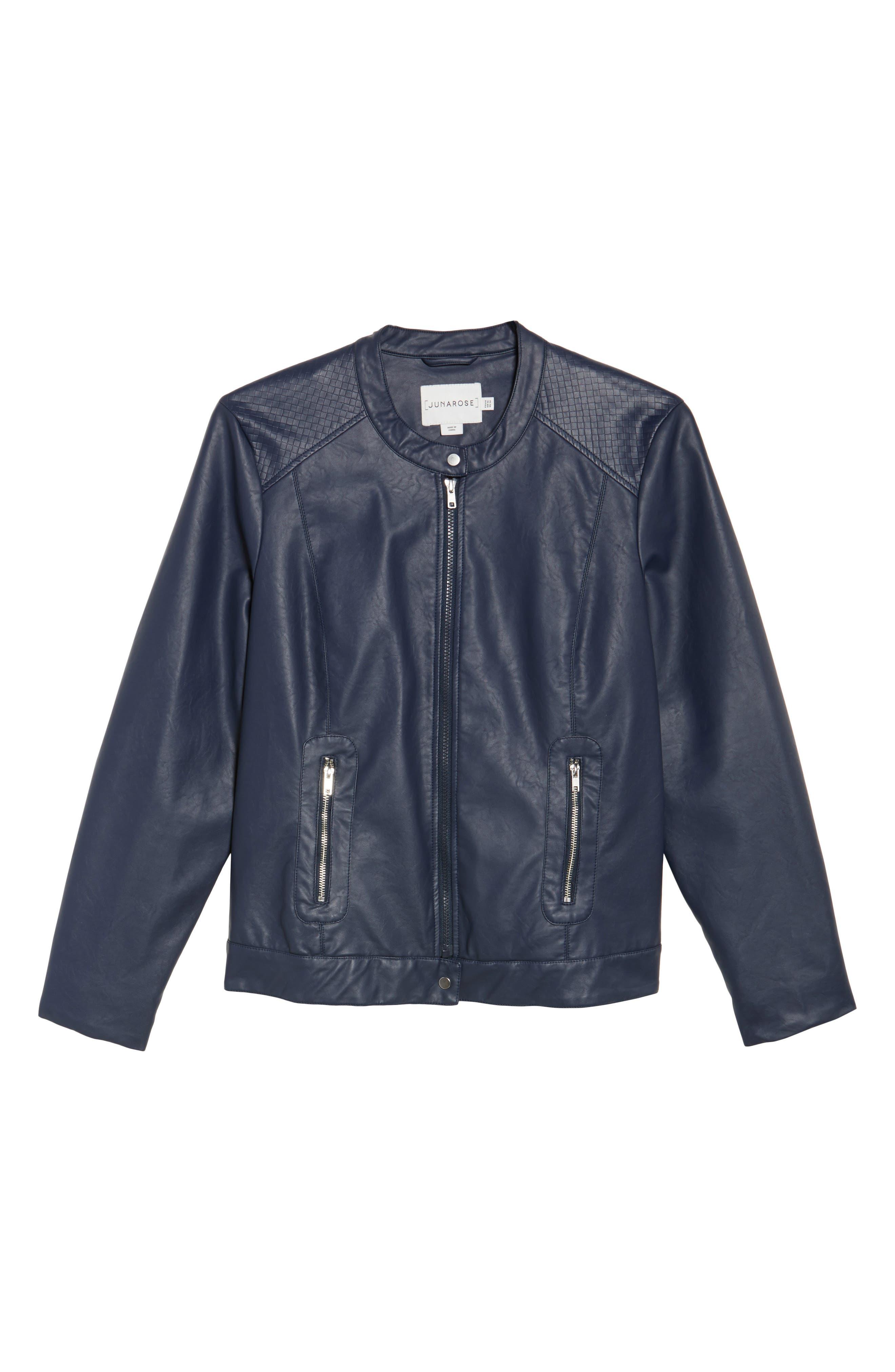 Vava Faux Leather Moto Jacket,                             Alternate thumbnail 5, color,                             411