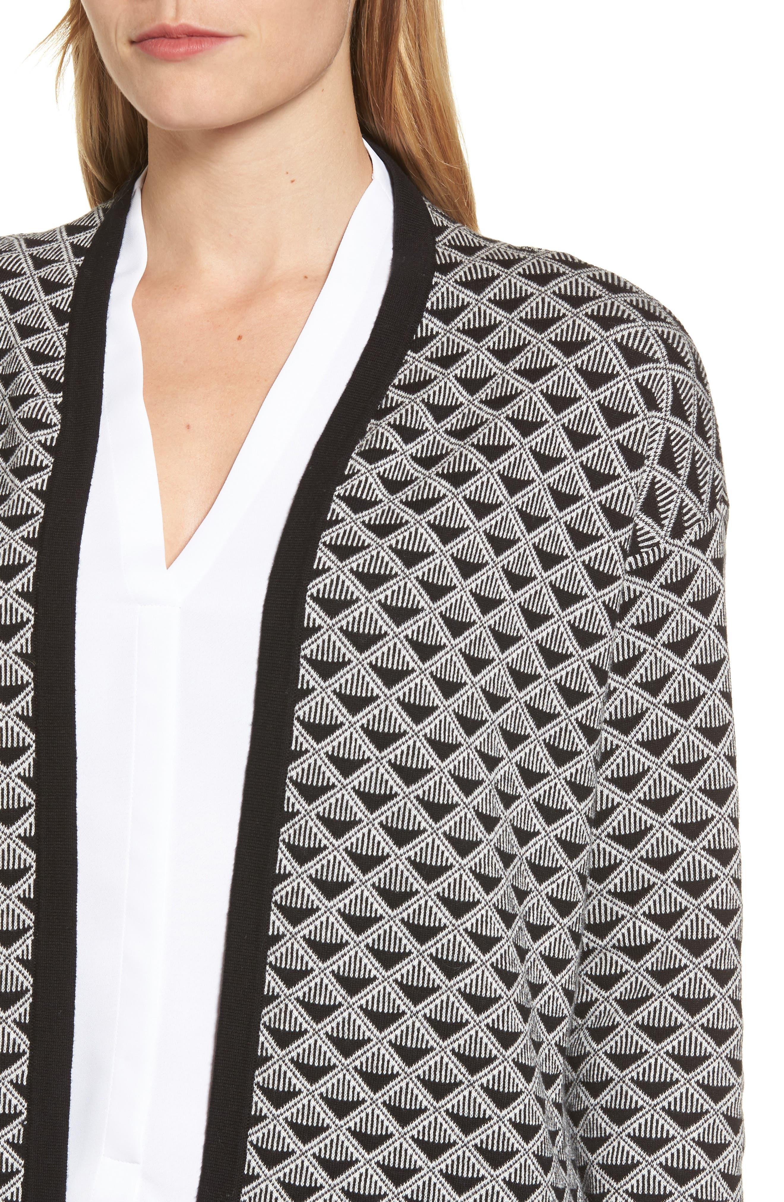 Geometric Jacquard Sweater,                             Alternate thumbnail 4, color,                             010