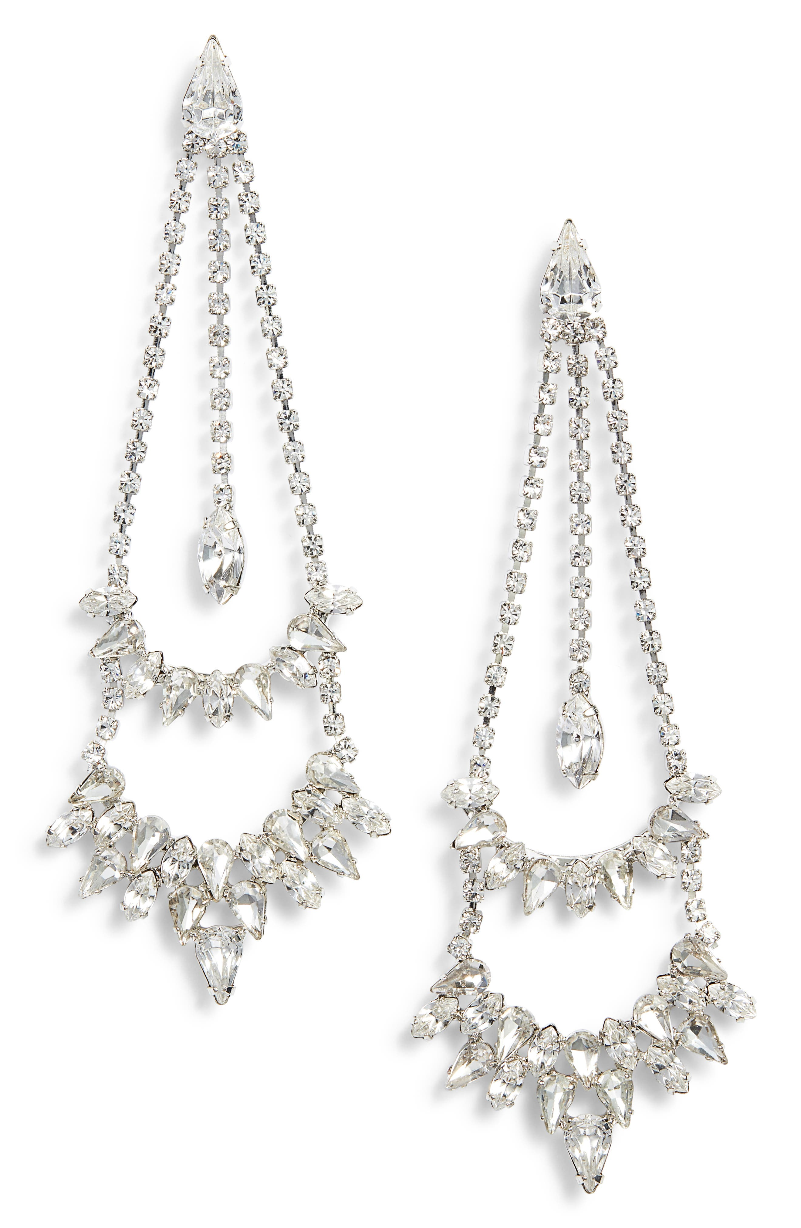 Crystal Double Tier Statement Earrings,                             Main thumbnail 1, color,