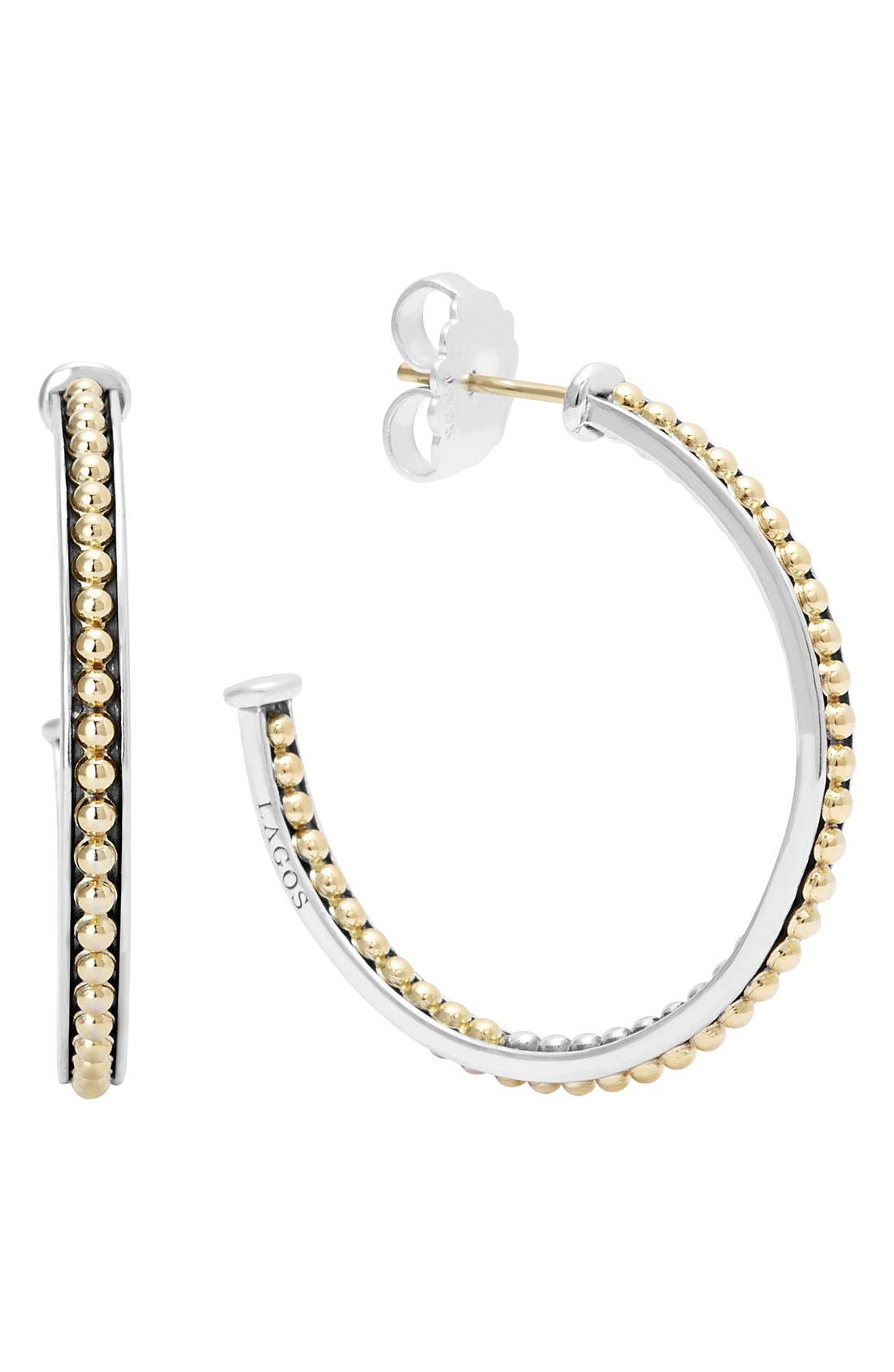 'Enso' Caviar Hoop Earrings,                             Main thumbnail 1, color,                             SILVER/ GOLD
