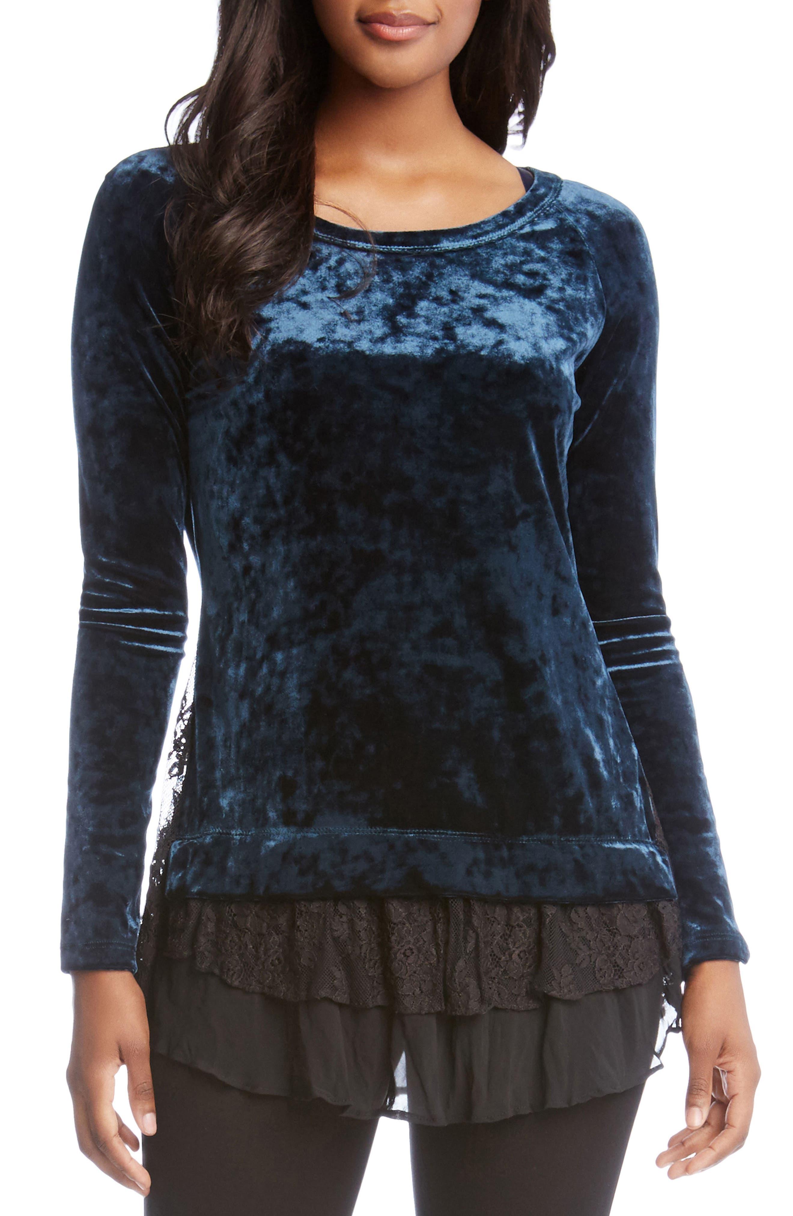 Lace Hem Velvet Top,                         Main,                         color, 340