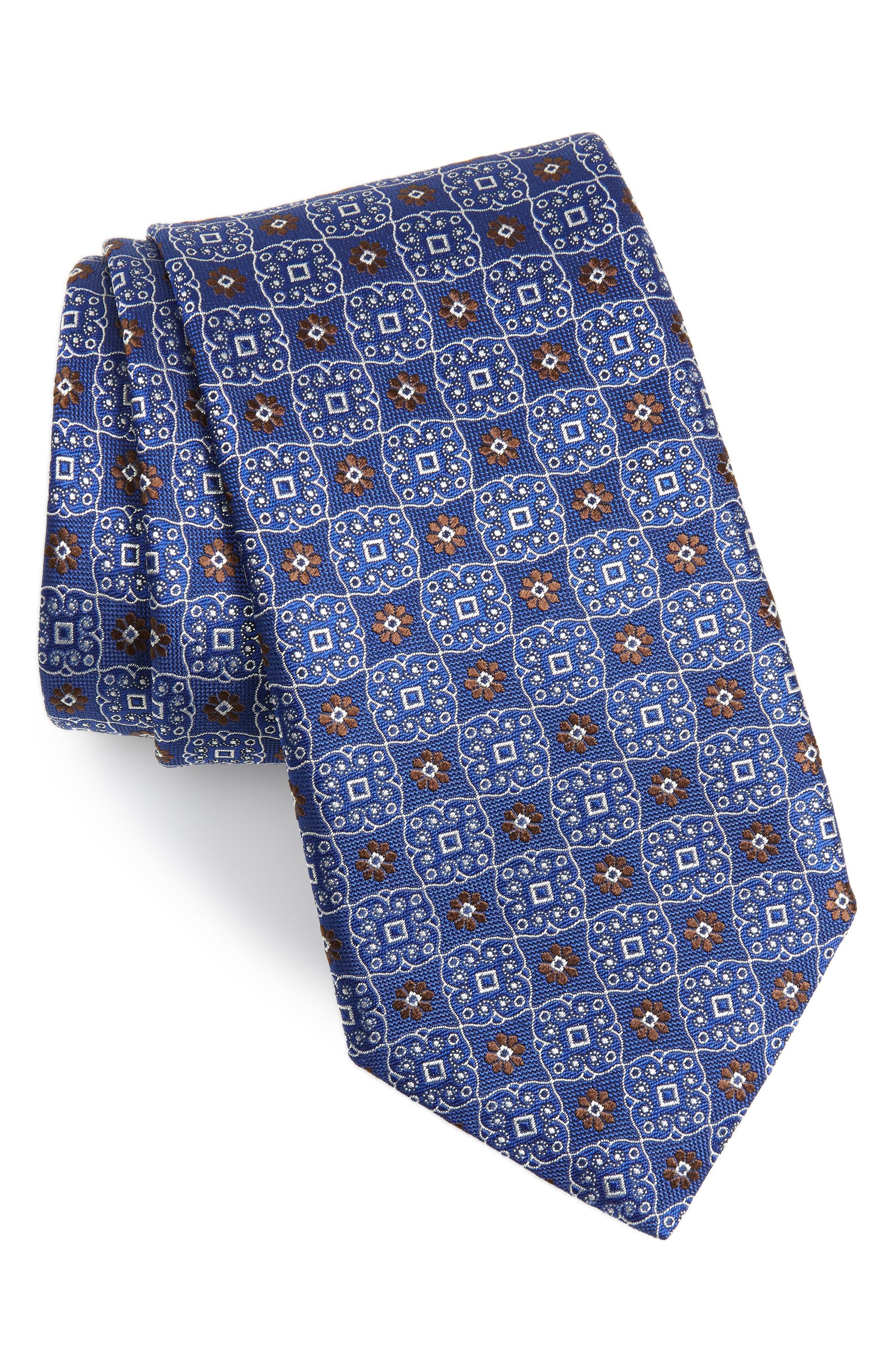 Medallion Silk X-Long Tie, Main, color, NAVY