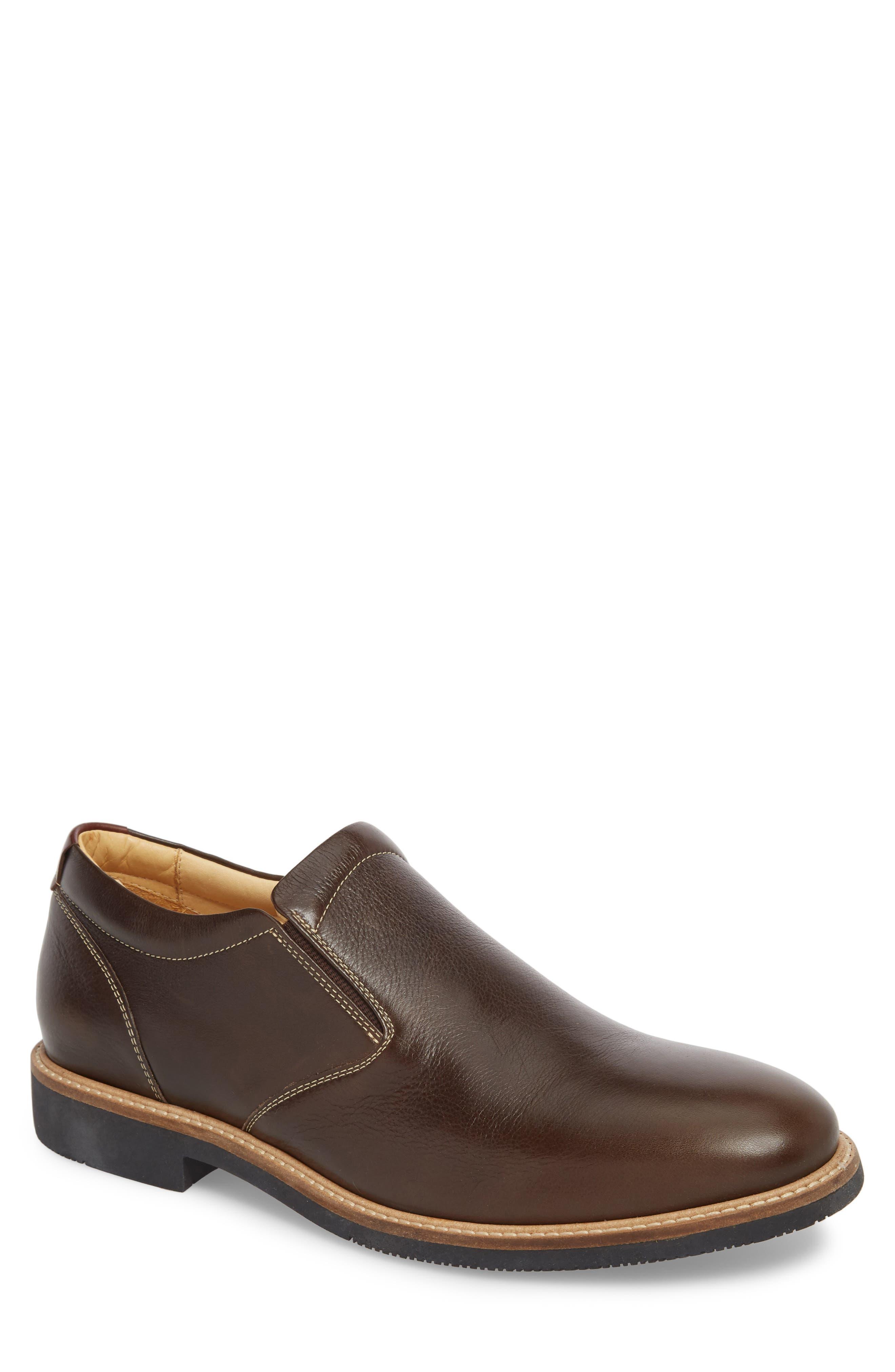 JOHNSTON & MURPHY Barlow Plain Toe Slip-On, Main, color, DARK BROWN LEATHER
