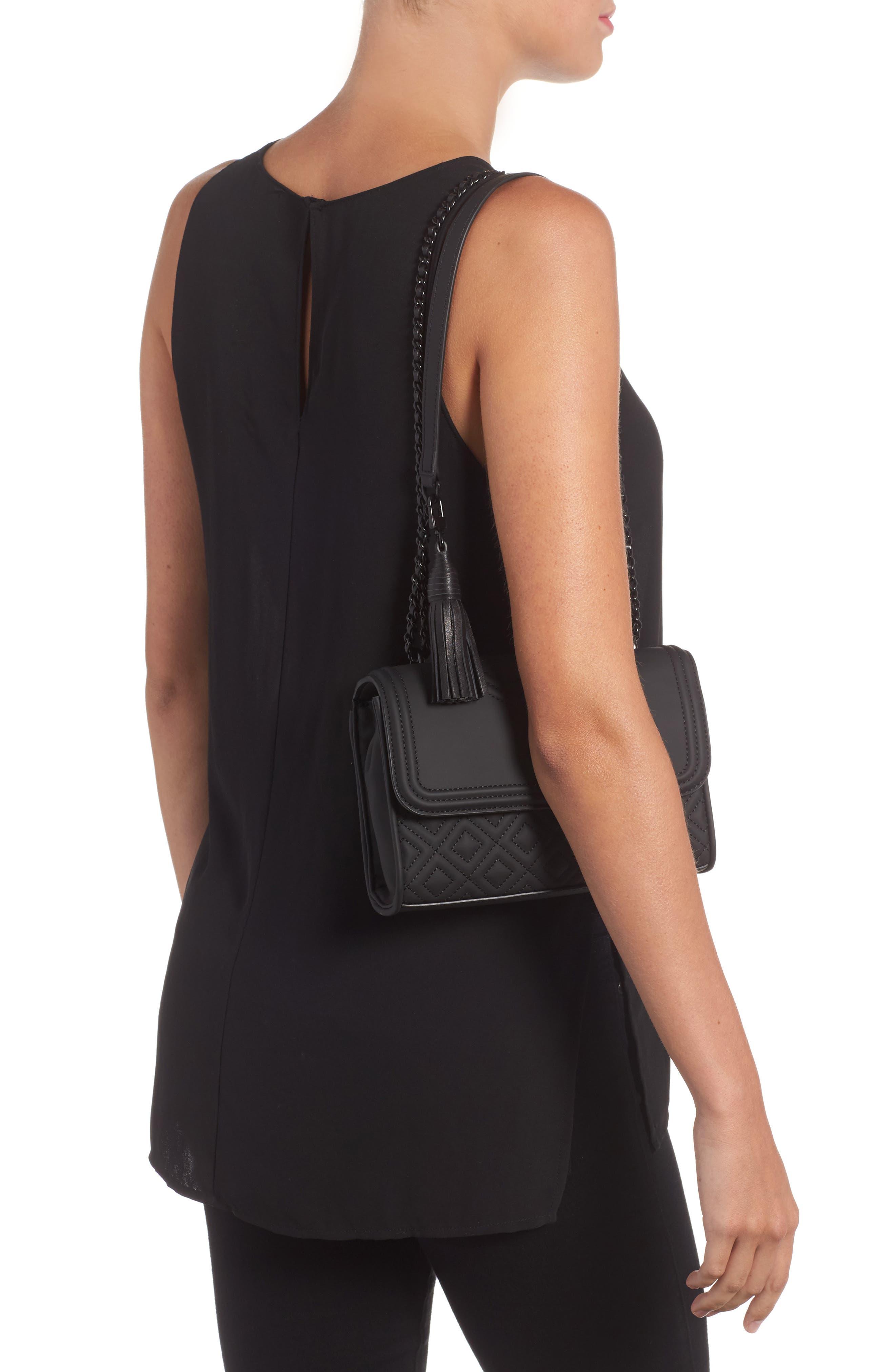 Small Fleming Quilted Shoulder Bag,                             Alternate thumbnail 2, color,                             BLACK