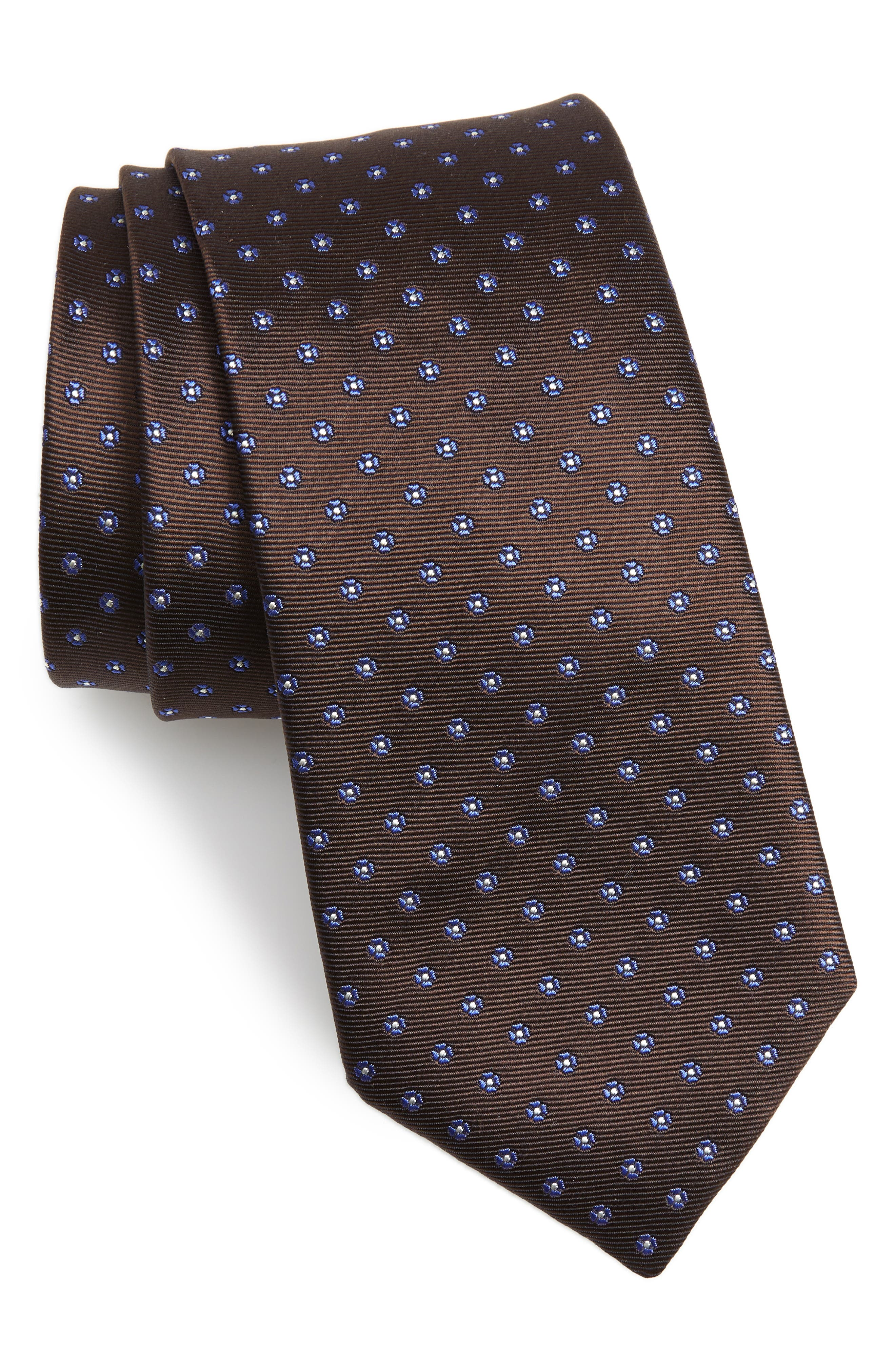 Dot Silk Tie,                         Main,                         color, BROWN