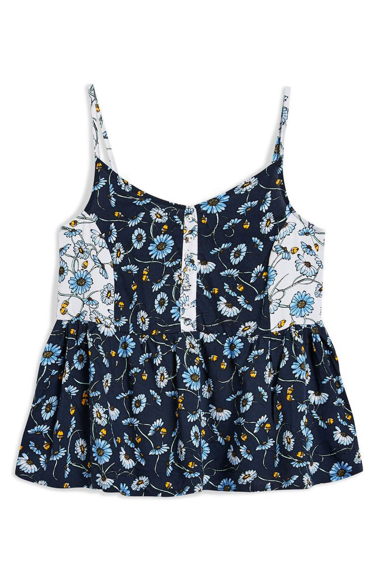 TOPSHOP,                             Floral Cami Sleep Top,                             Alternate thumbnail 5, color,                             411