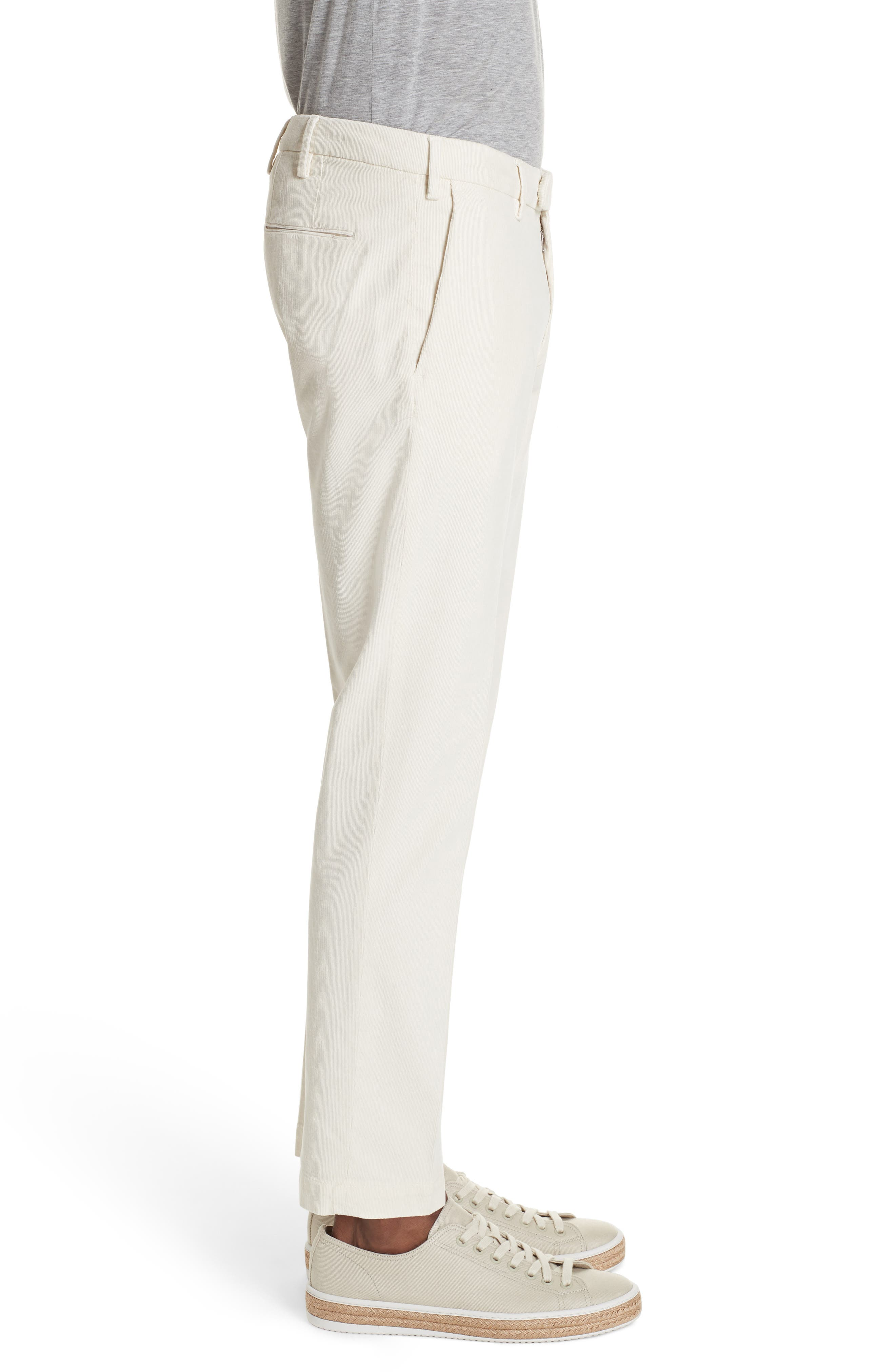 Flat Front Stretch Solid Cotton Blend Trousers,                             Alternate thumbnail 3, color,                             WINTER WHITE