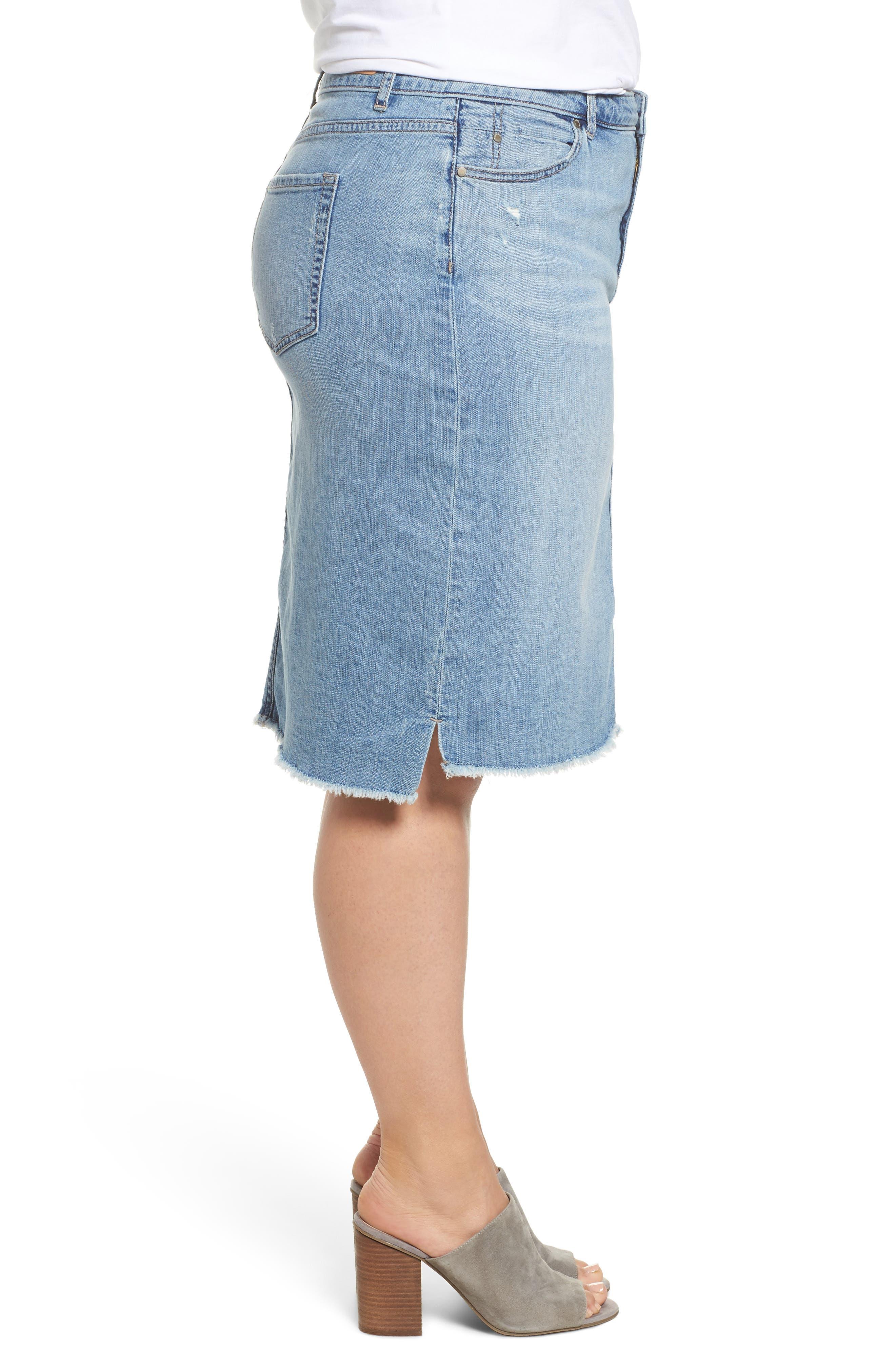 Raw Edge Denim Skirt,                             Alternate thumbnail 3, color,                             401