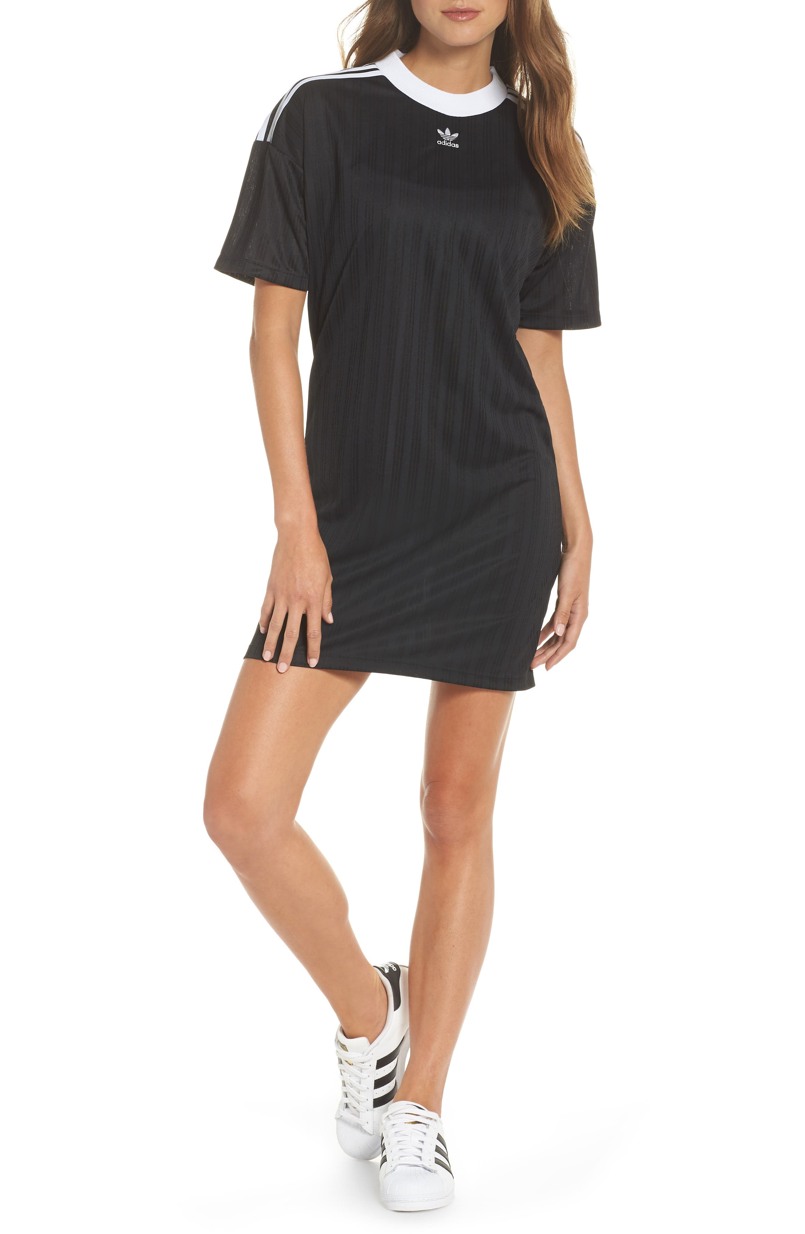 ADIDAS ORIGINALS,                             Trefoil T-Shirt Dress,                             Main thumbnail 1, color,                             001