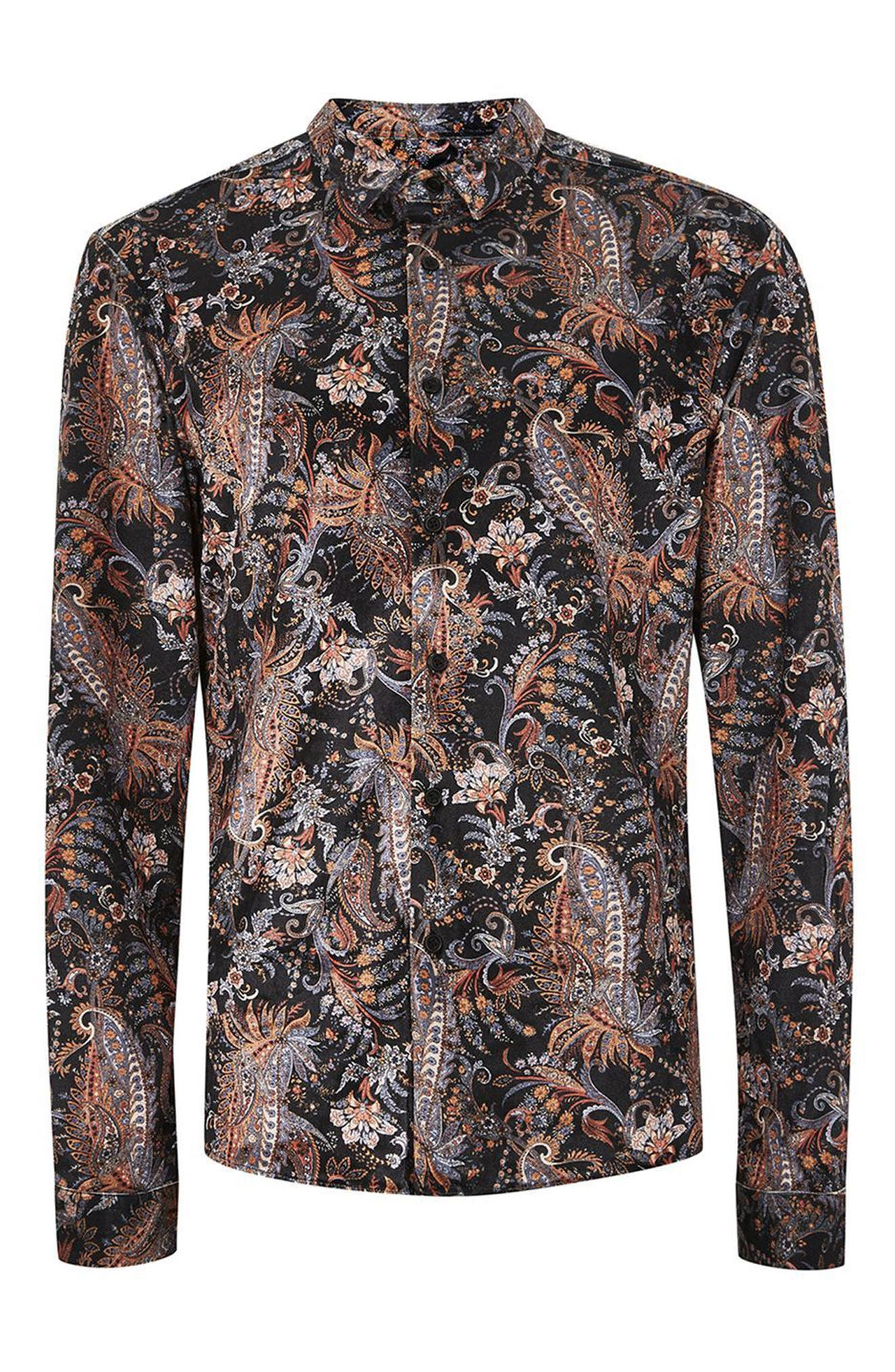 Classic Fit Paisley Velvet Shirt,                             Alternate thumbnail 4, color,                             001
