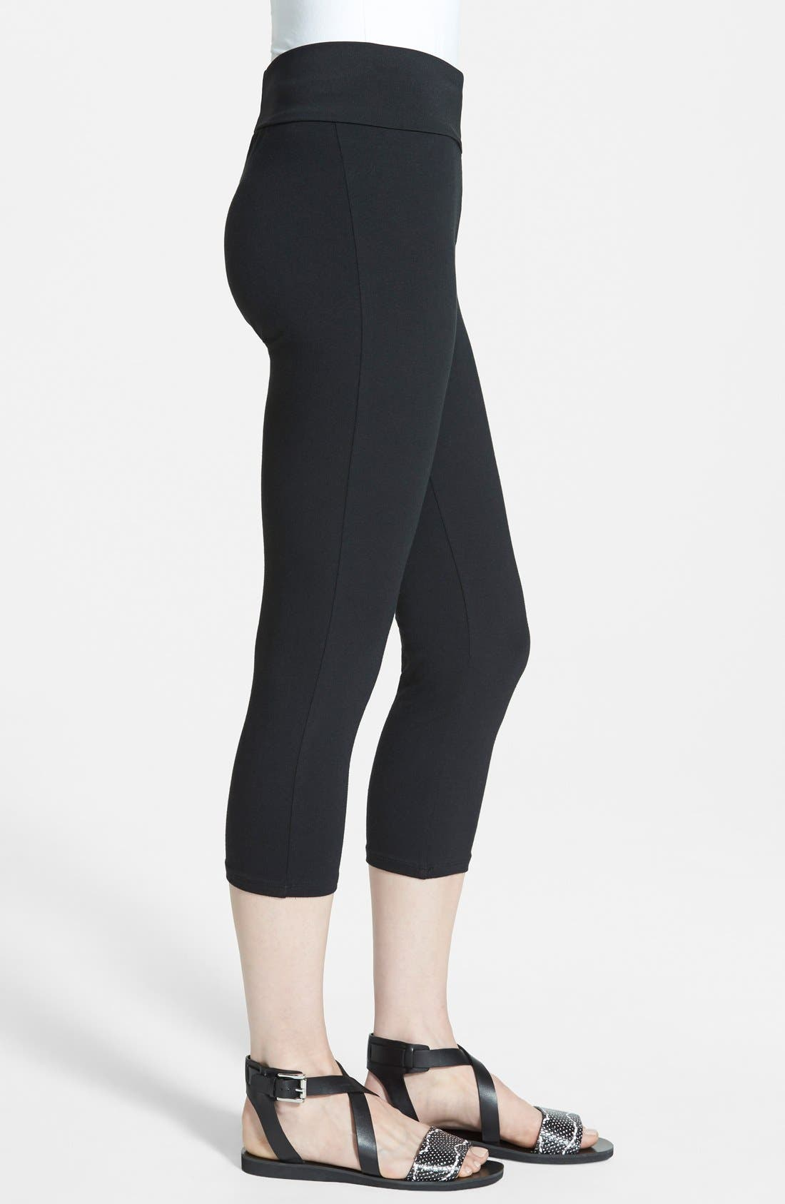Post Support Crop Maternity Leggings,                             Alternate thumbnail 3, color,                             BLACK