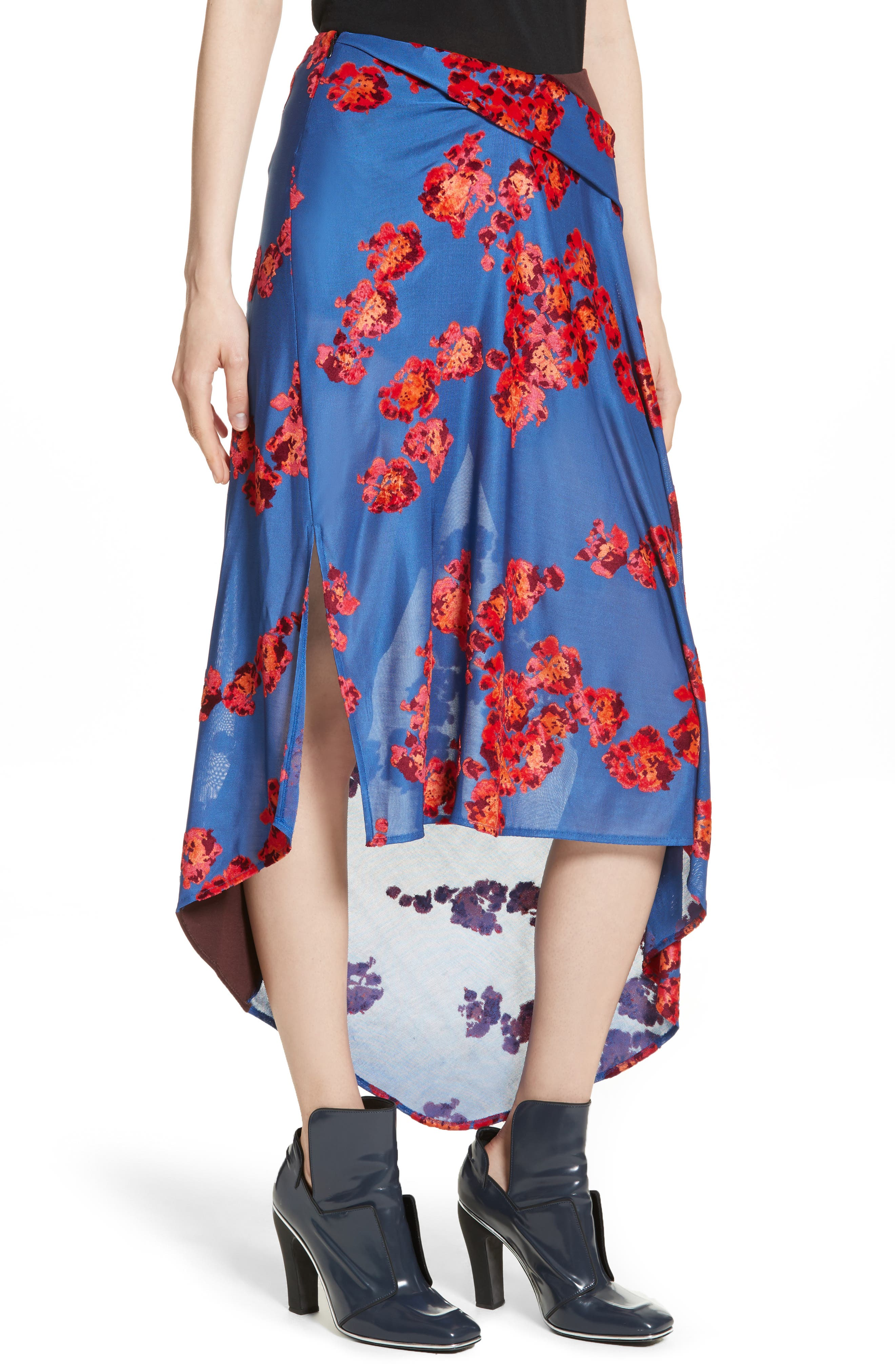 Jacquard Jersey Asymmetrical Skirt,                             Alternate thumbnail 4, color,                             400