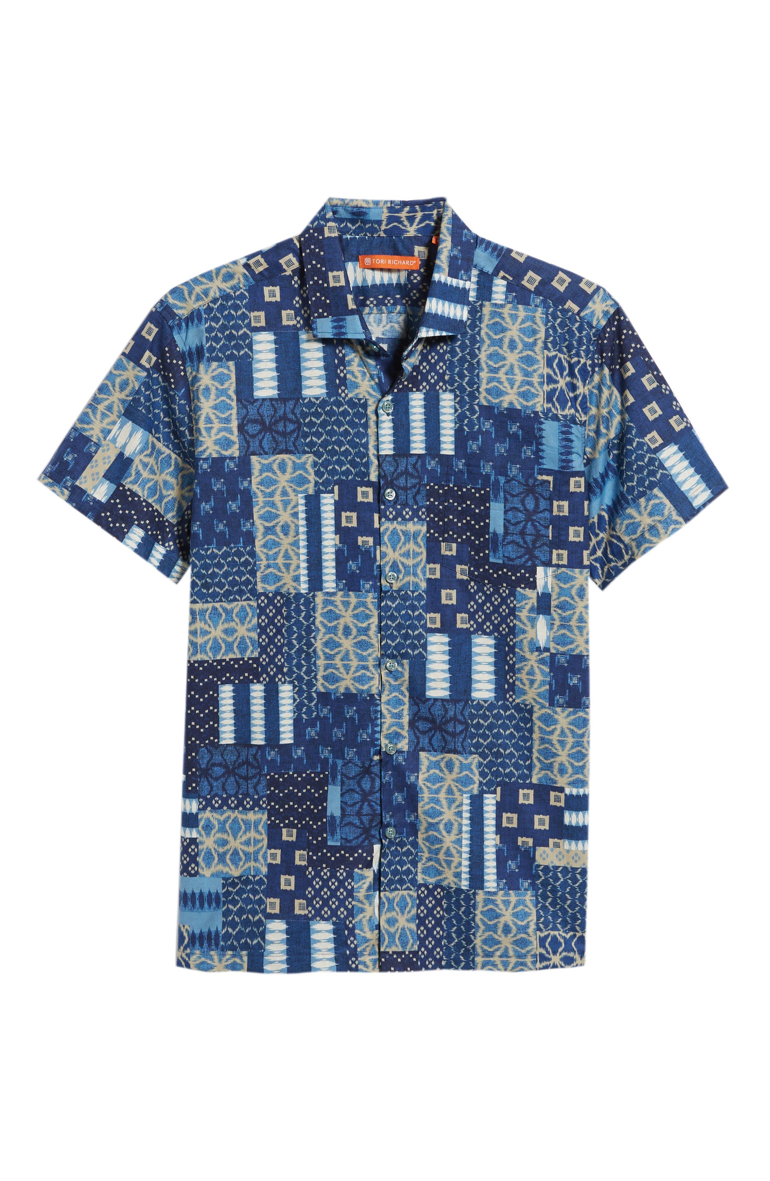 Yukata Trim Fit Sport Shirt,                             Alternate thumbnail 6, color,                             NAVY