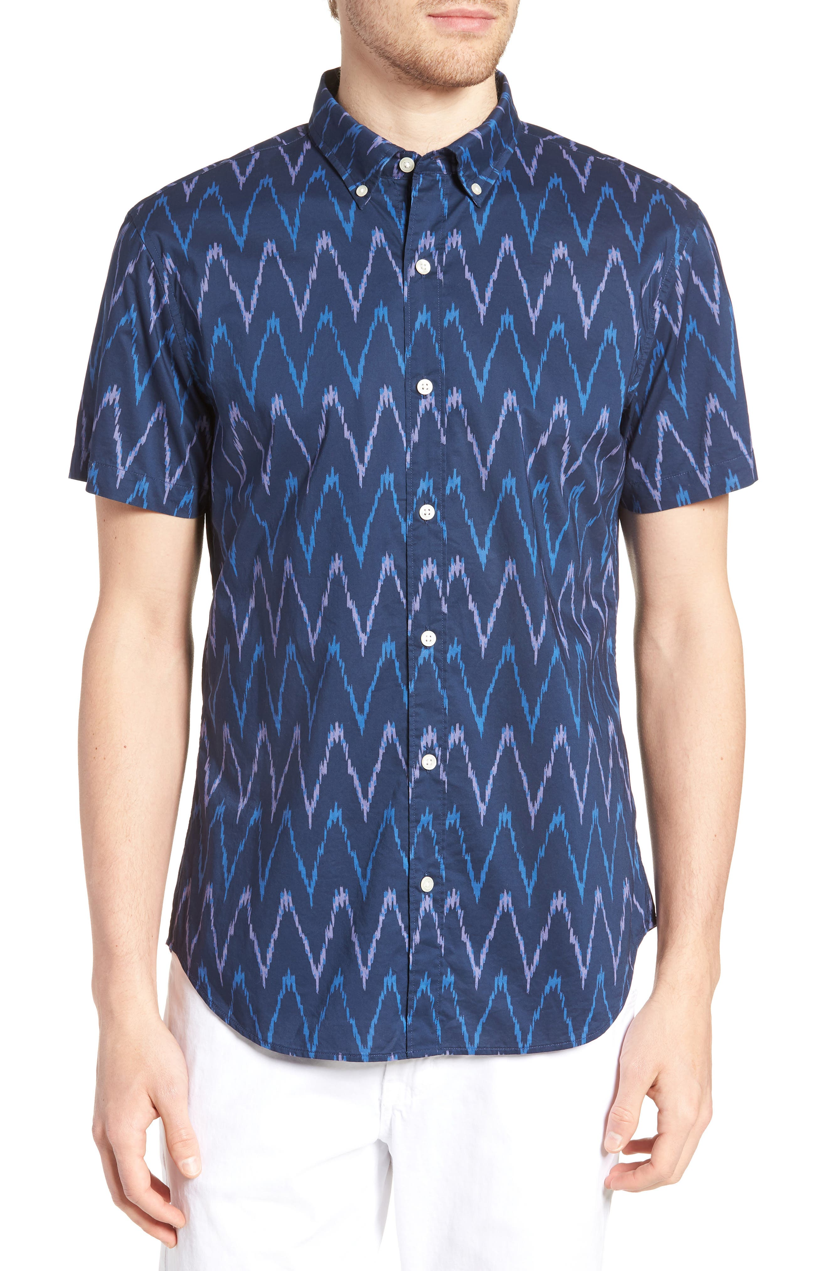 Riviera Slim Fit Ikat Print Sport Shirt,                             Main thumbnail 1, color,                             400