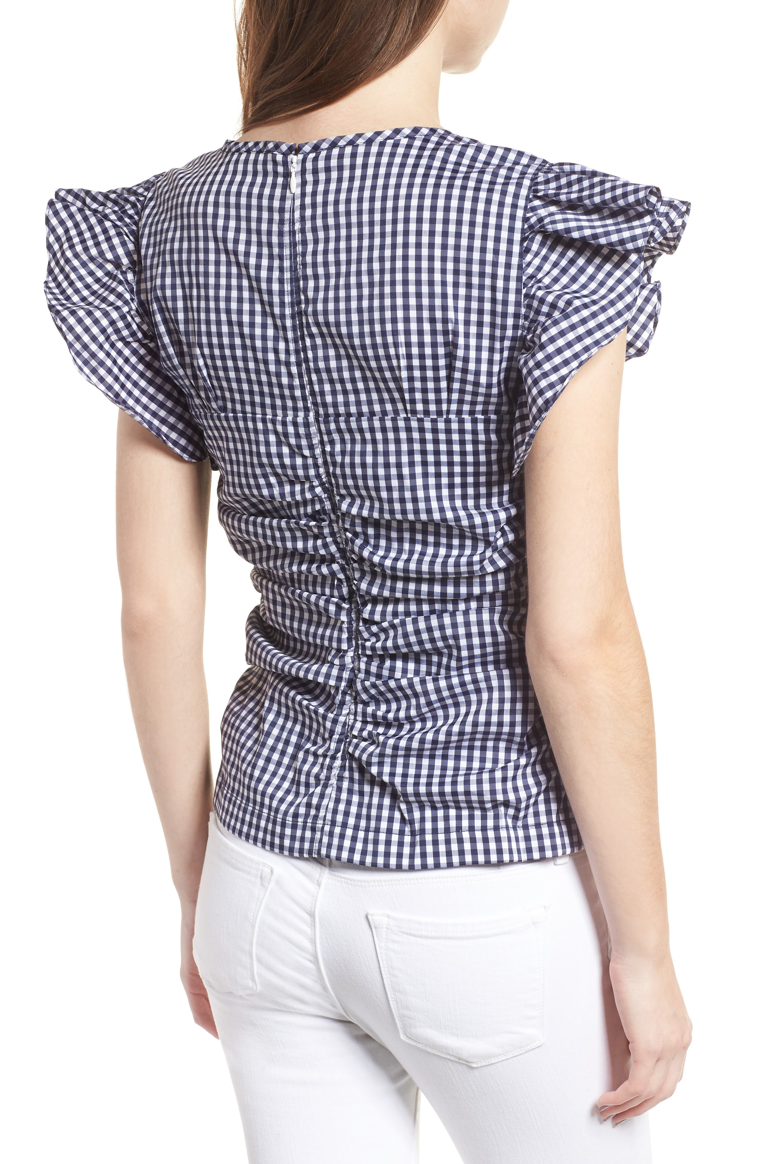 Gingham Ruched Poplin Top,                             Alternate thumbnail 2, color,                             401