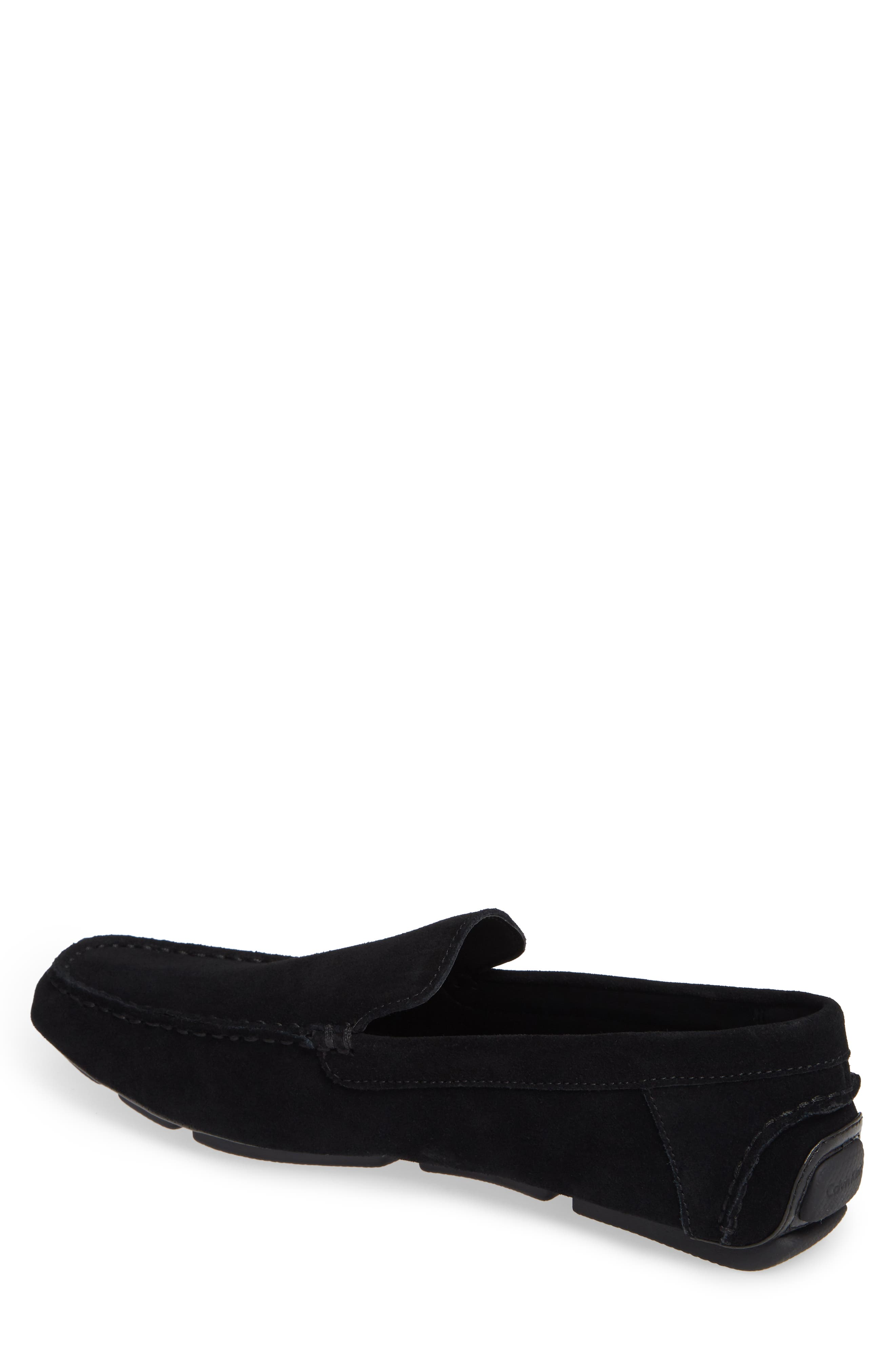 Miguel Textured Driving Loafer,                             Alternate thumbnail 2, color,                             BLACK CALF SUEDE