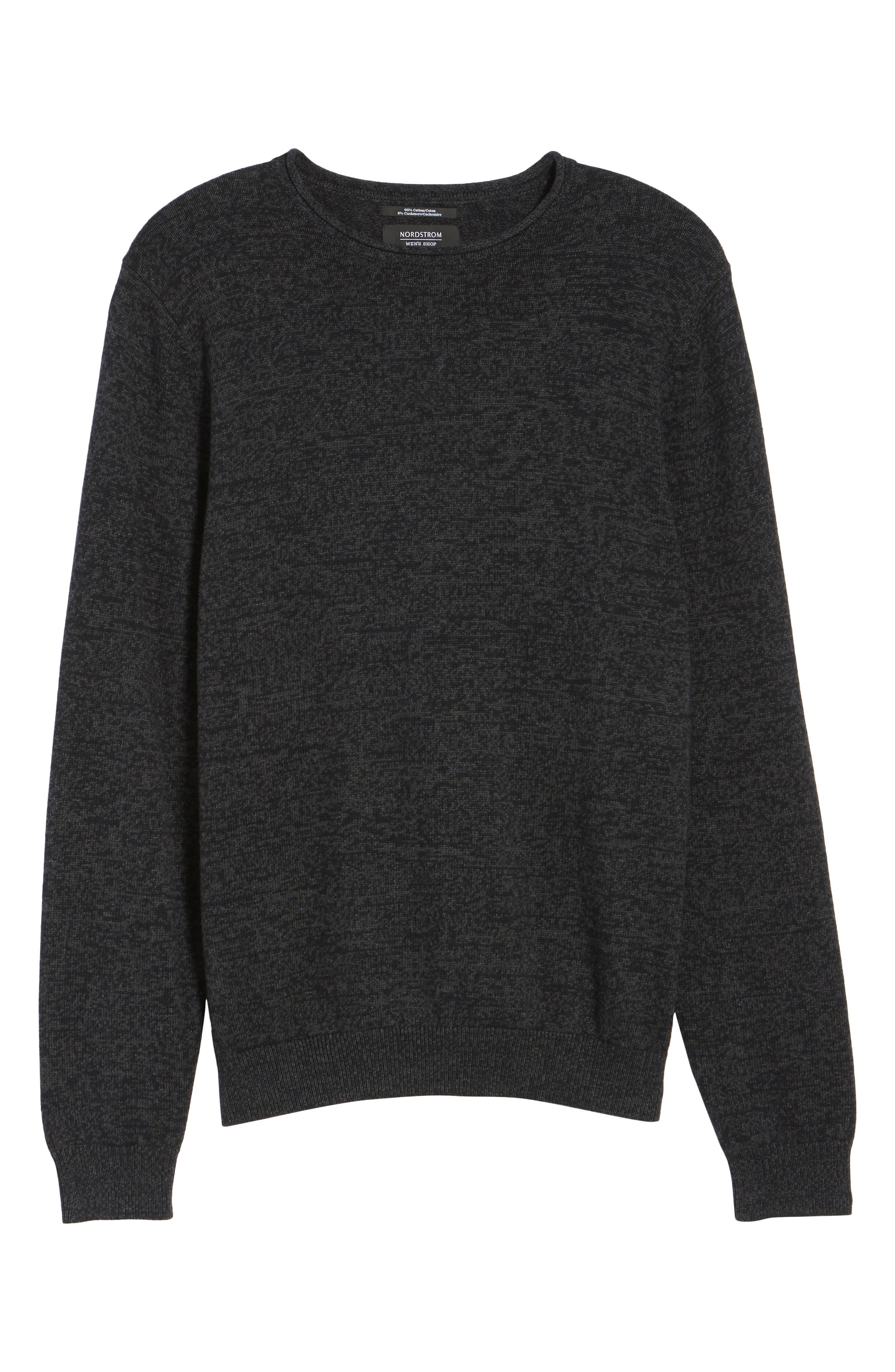 Cotton & Cashmere Roll Neck Sweater,                             Alternate thumbnail 6, color,                             021
