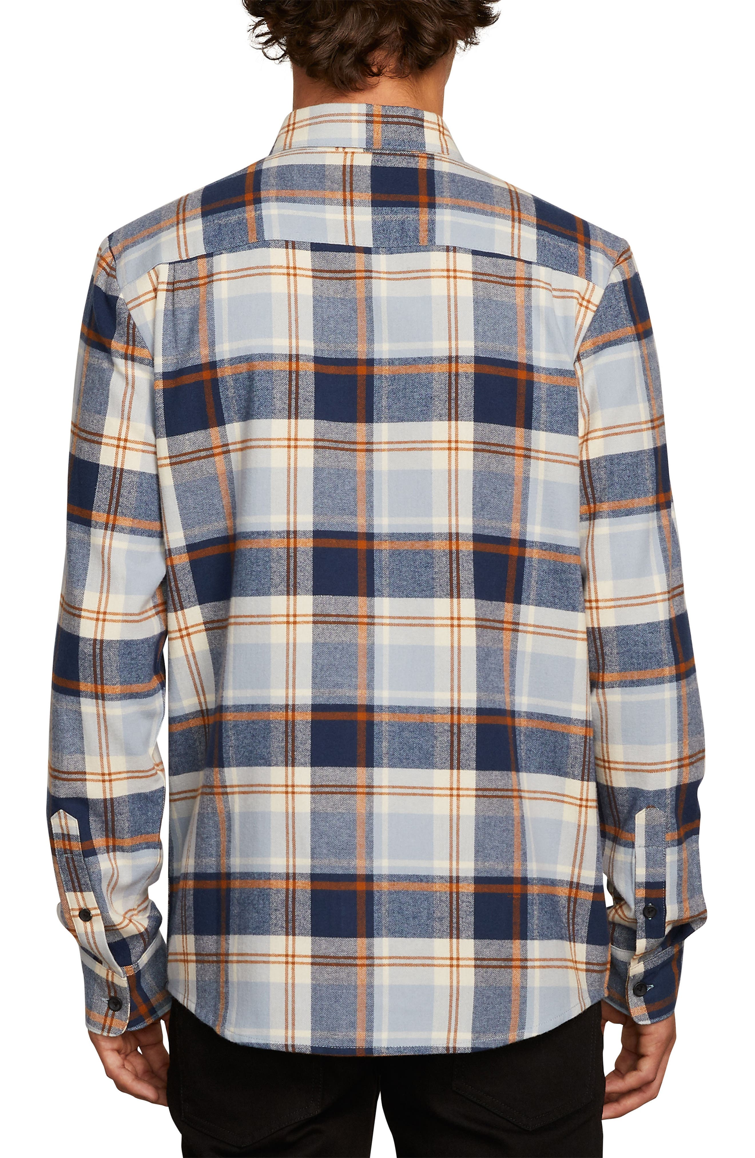 Caden Plaid Flannel Shirt,                             Alternate thumbnail 2, color,                             BLUE SLATE