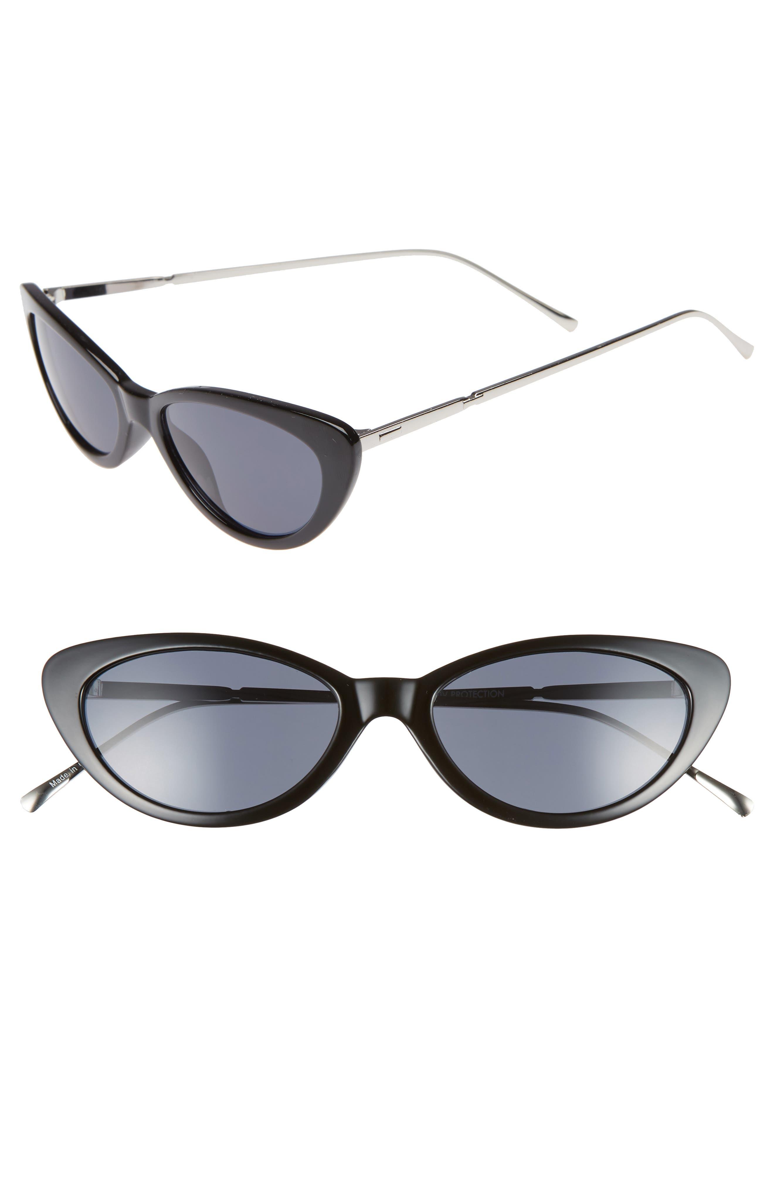 53mm Cat Eye Sunglasses,                             Main thumbnail 1, color,                             BLACK