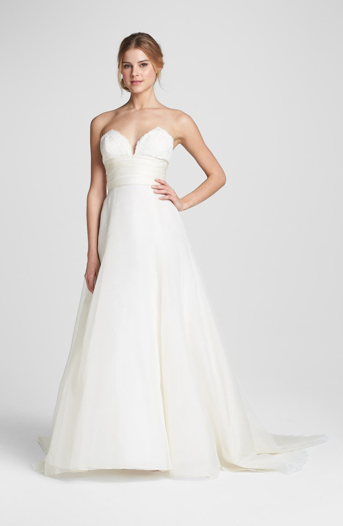 Lace & Silk Organza Ball Gown,                             Alternate thumbnail 4, color,                             IVORY