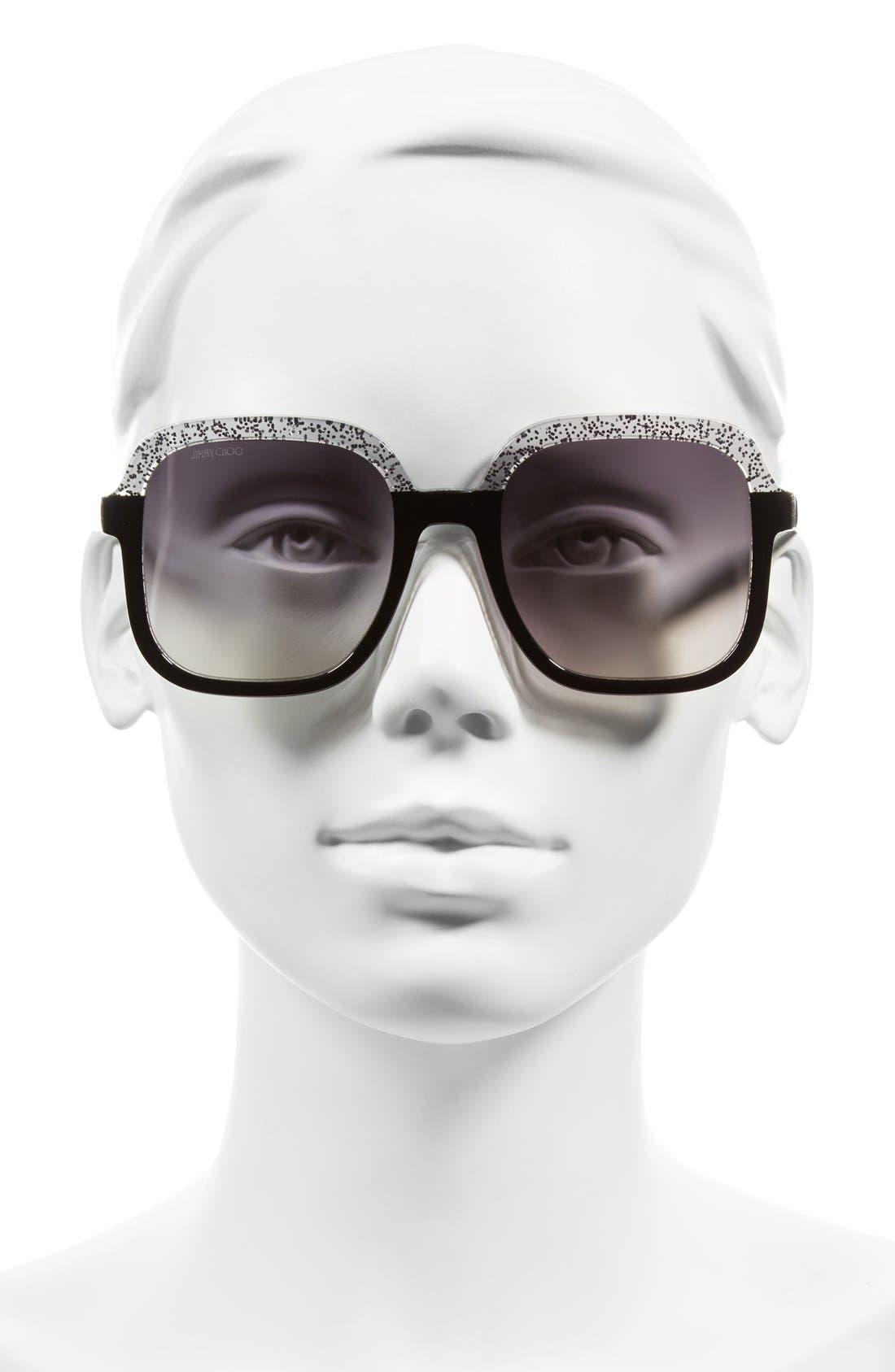 53mm Glitter Frame Sunglasses,                             Alternate thumbnail 4, color,                             001
