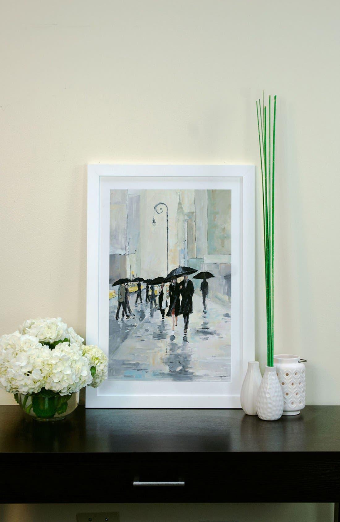 'City in the Rain' Framed Fine Art Print,                             Alternate thumbnail 3, color,