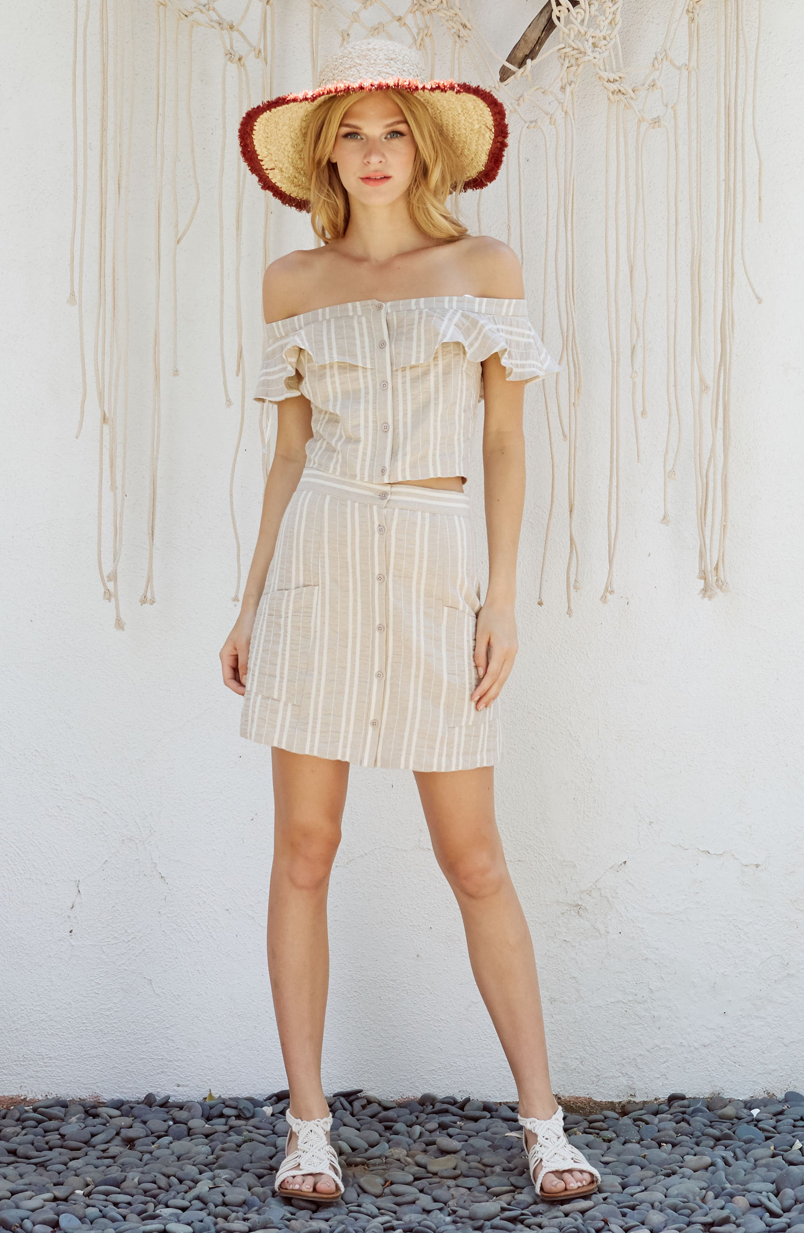 Stella Ruffle Off the Shoulder Crop Top,                             Alternate thumbnail 8, color,                             904