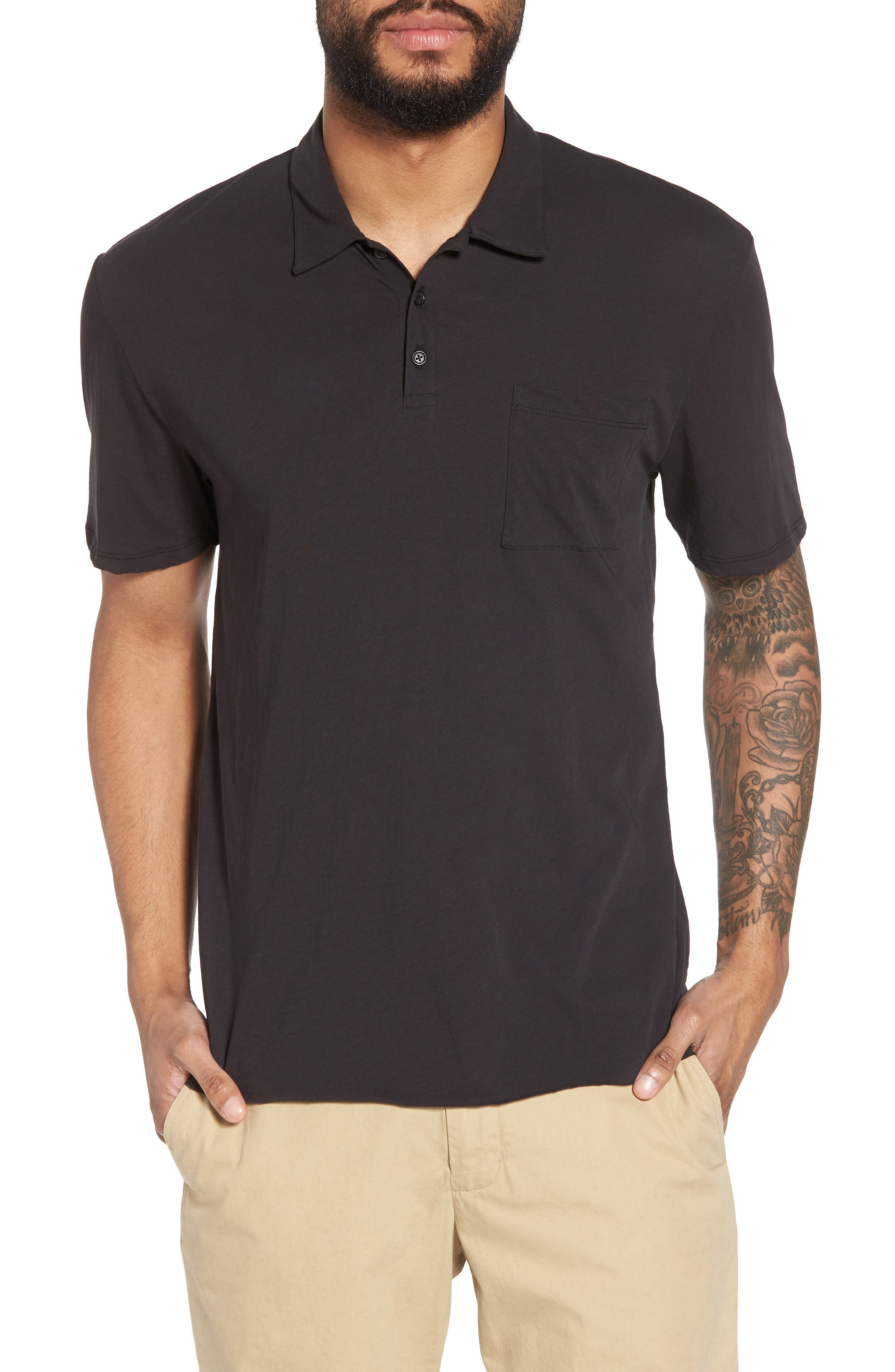 VINCE Cotton Polo Shirt, Main, color, 001