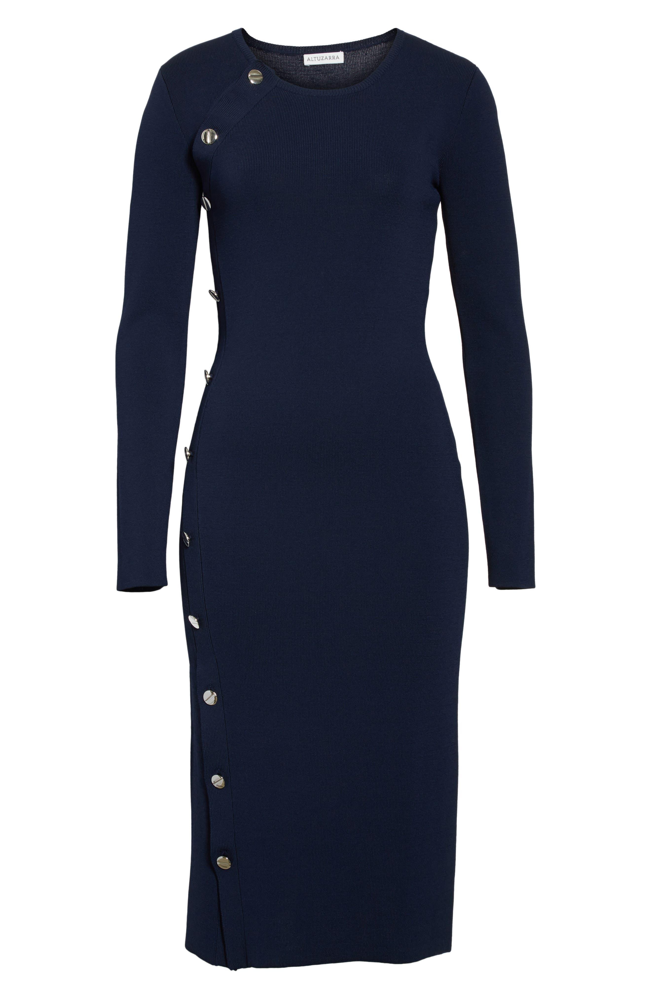Button Detail Knit Dress,                             Alternate thumbnail 6, color,